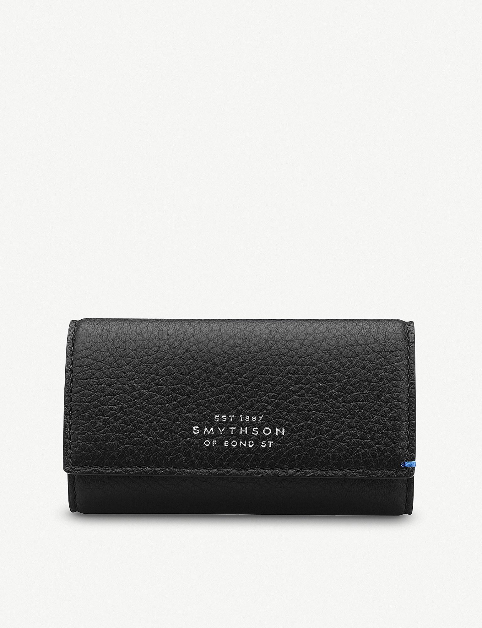 Lyst - Smythson Burlington Leather Key Holder in Black