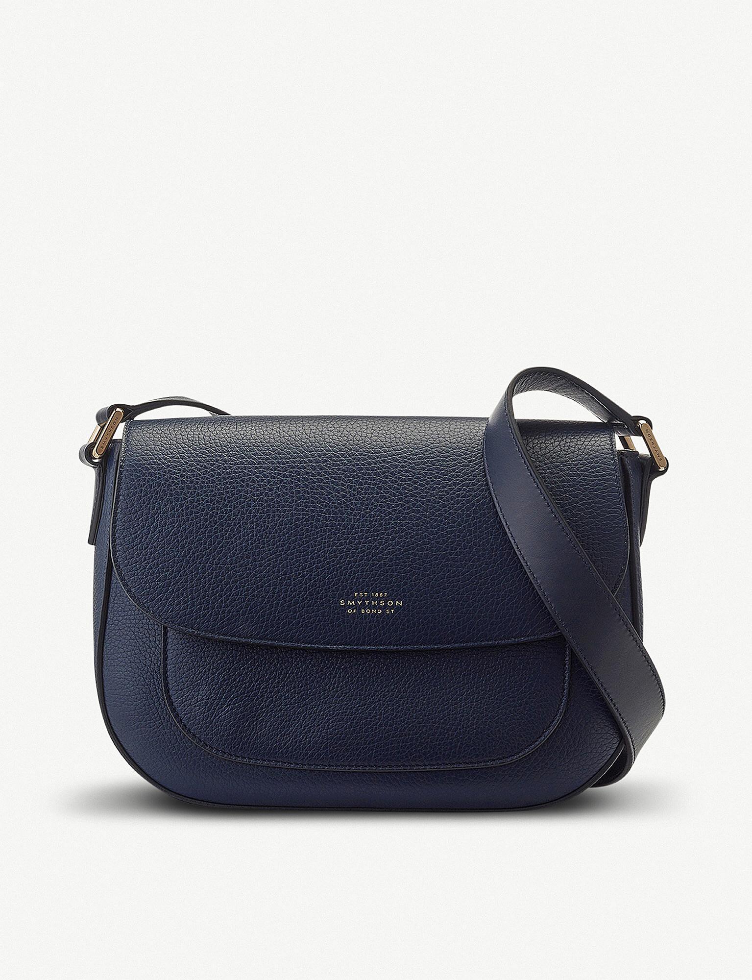 Lyst - Smythson Burlington Leather Saddle Bag in Blue