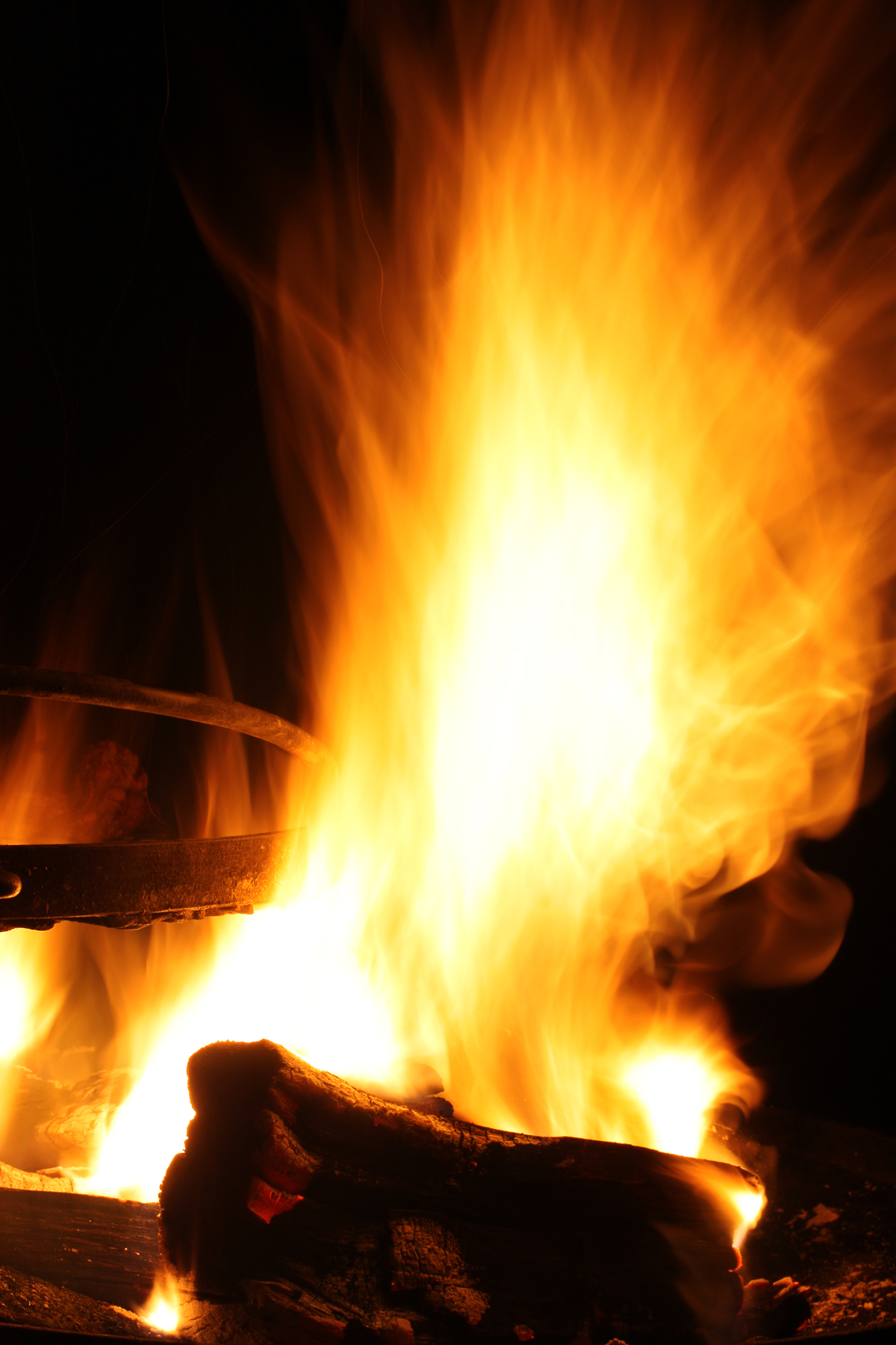 Burning Campfire, Abstract, Photograph, Logs, Long, HQ Photo