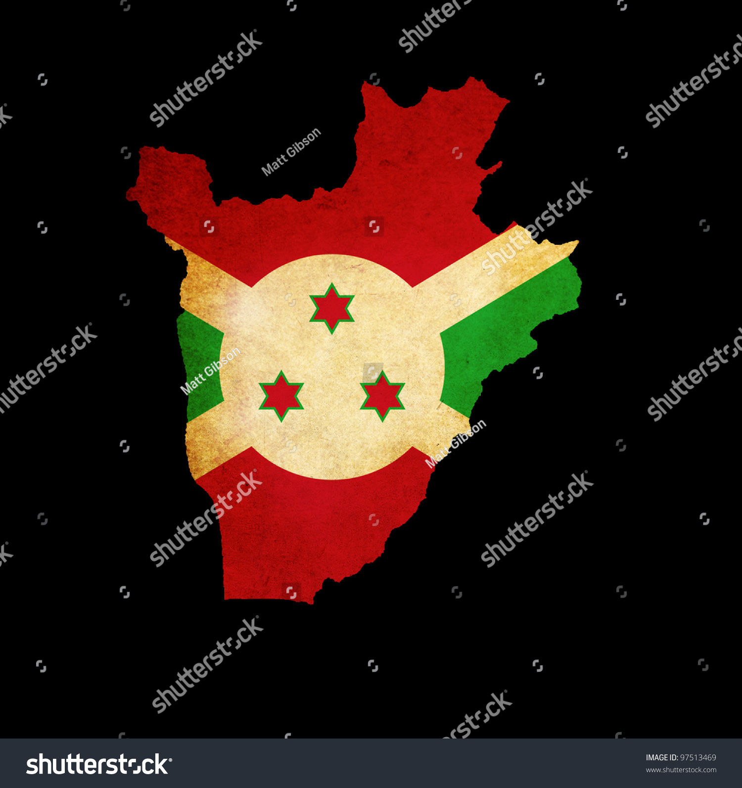 Outline Map Burundi Flag Grunge Paper Stock Illustration 97513469 ...