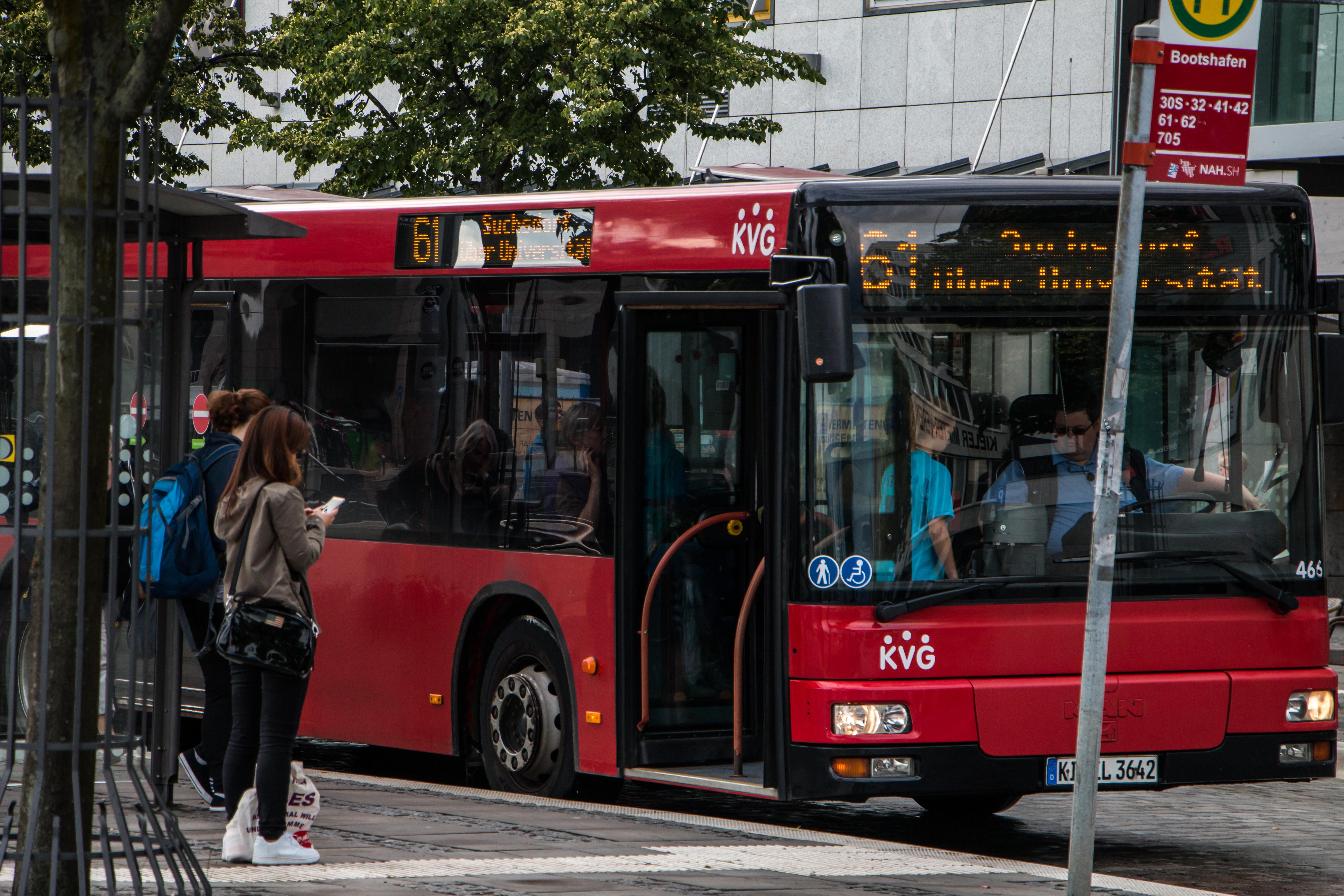 Bus at bus stop, Bus, City, Germany, Kiel, HQ Photo