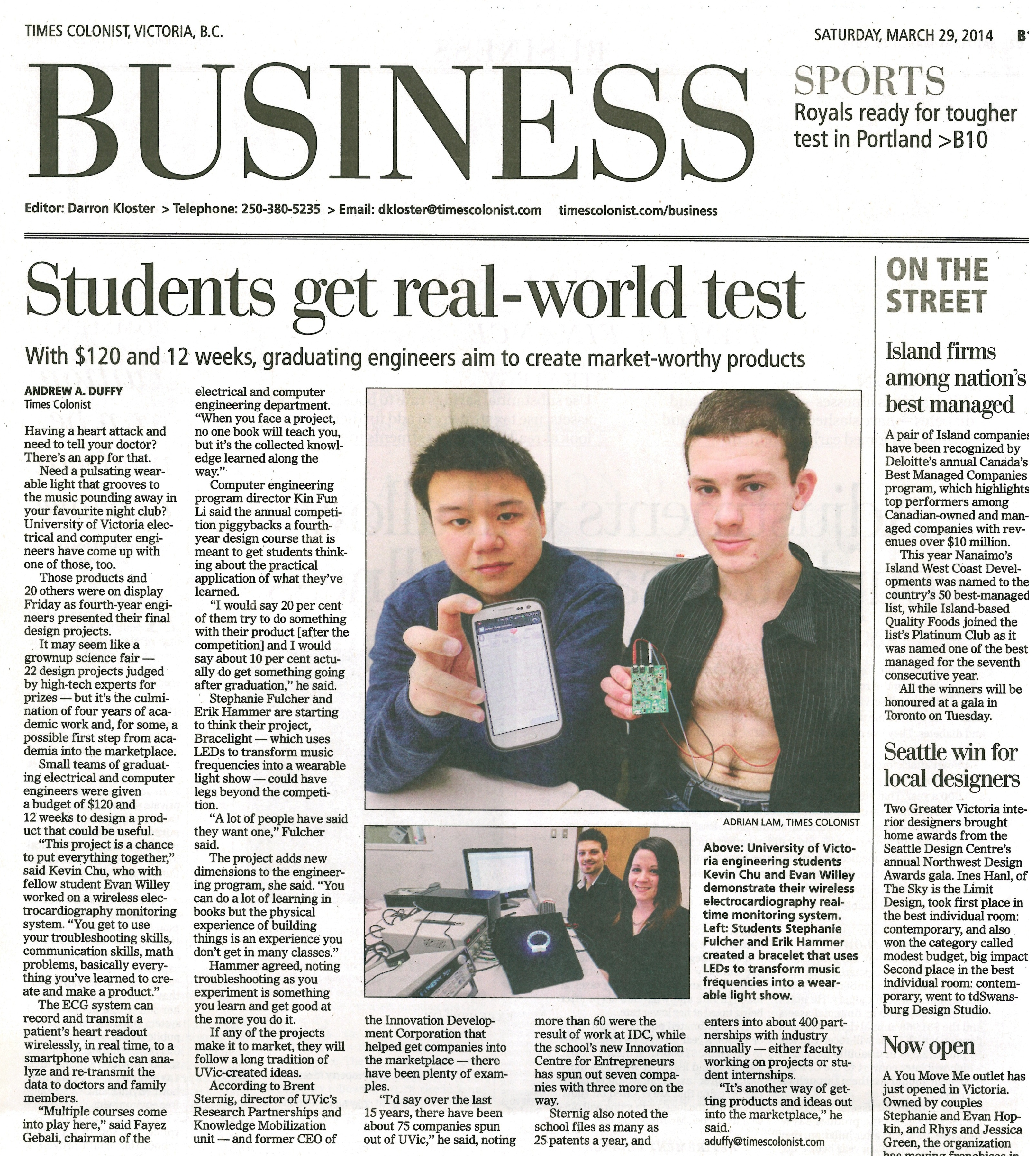 Fourth-Year Design Project teams featured in Victoria Times Colonist ...