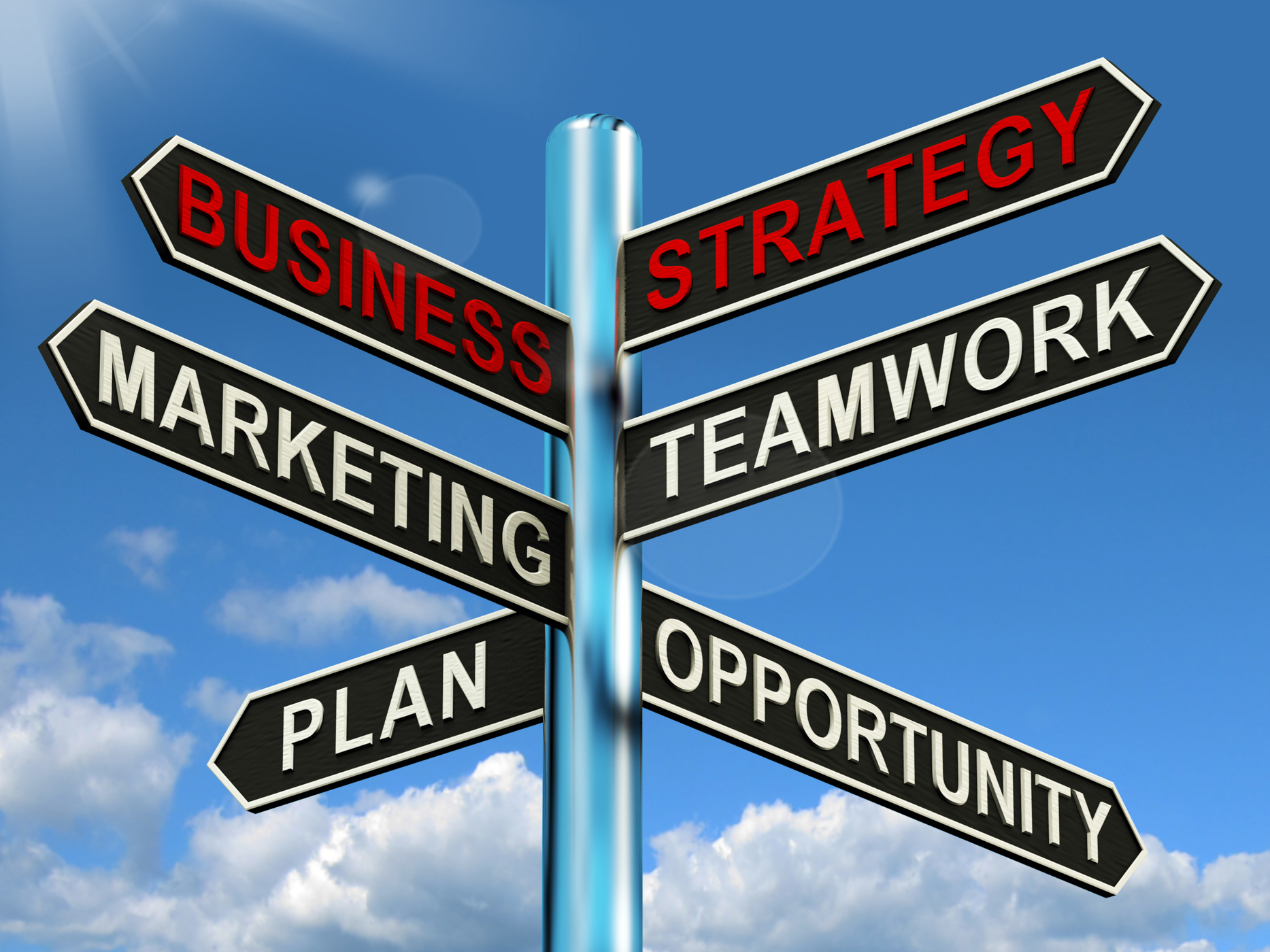 Business Strategy Signpost Showing Teamwork Marketing And Plans, Signpost, Roadsign, Planning, Plan, HQ Photo