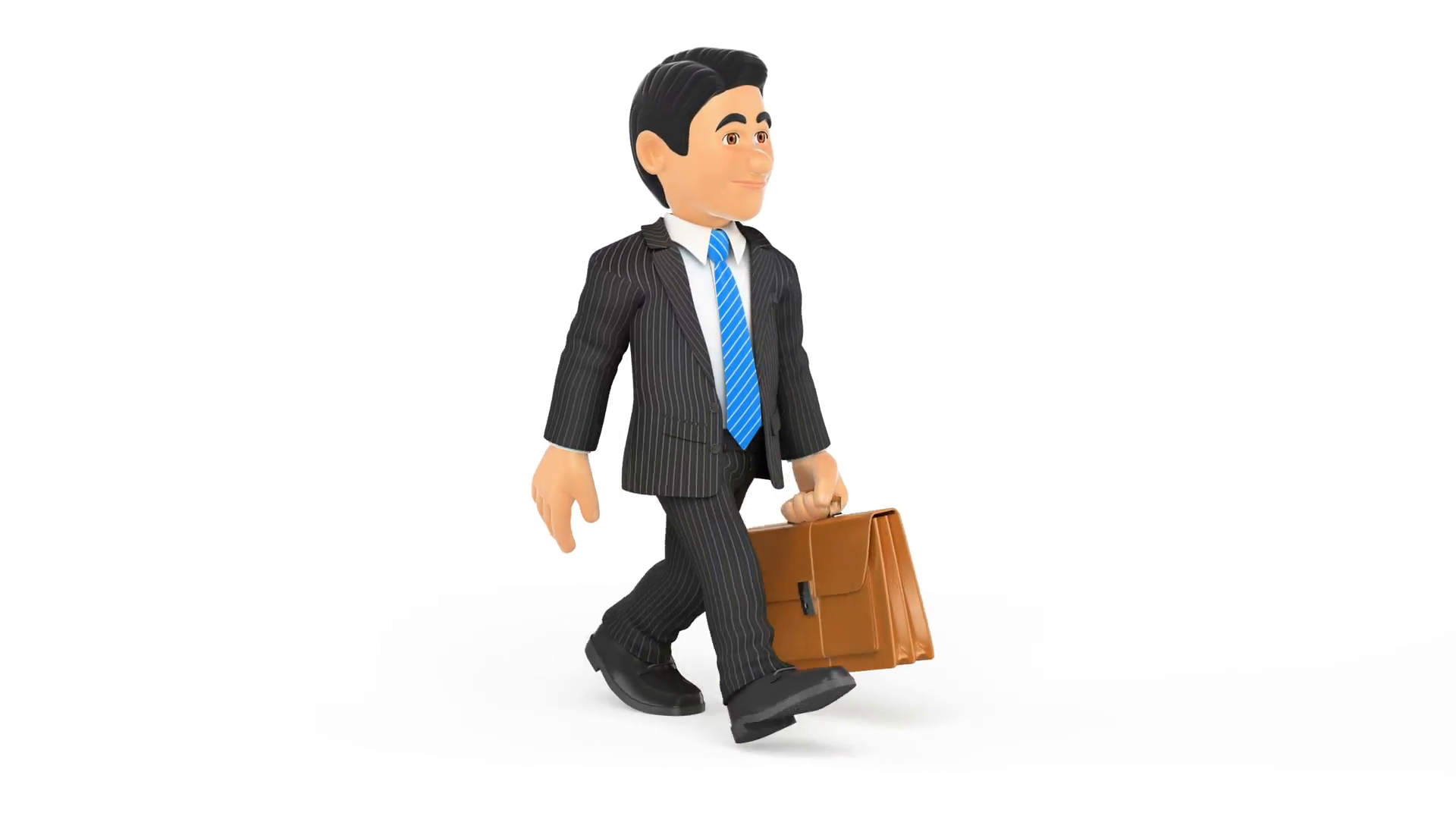 3D Animation footage businessman thinking with white background ...