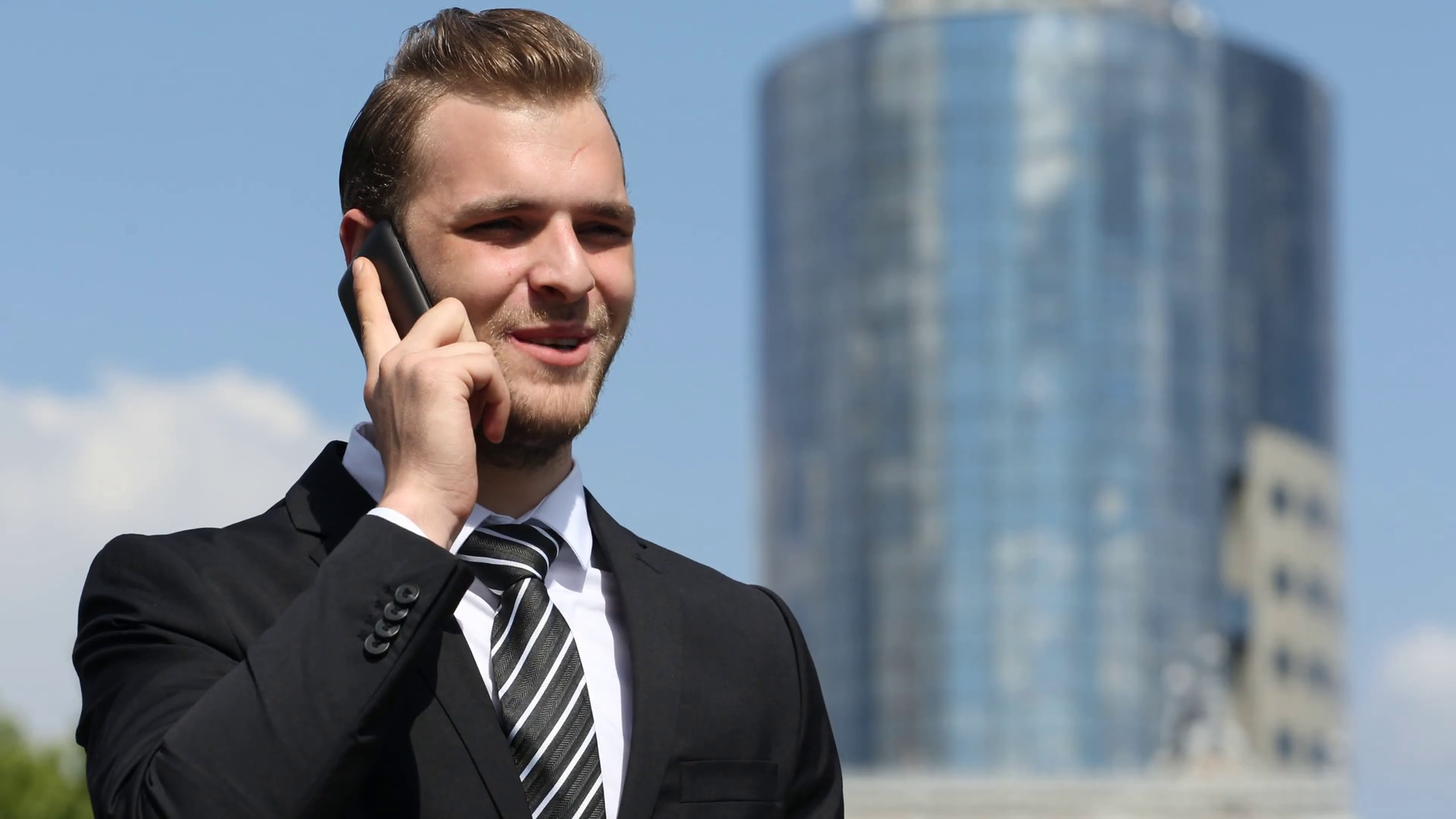 Optimistic Confident Businessman Talking Mobile Phone Success Moment ...