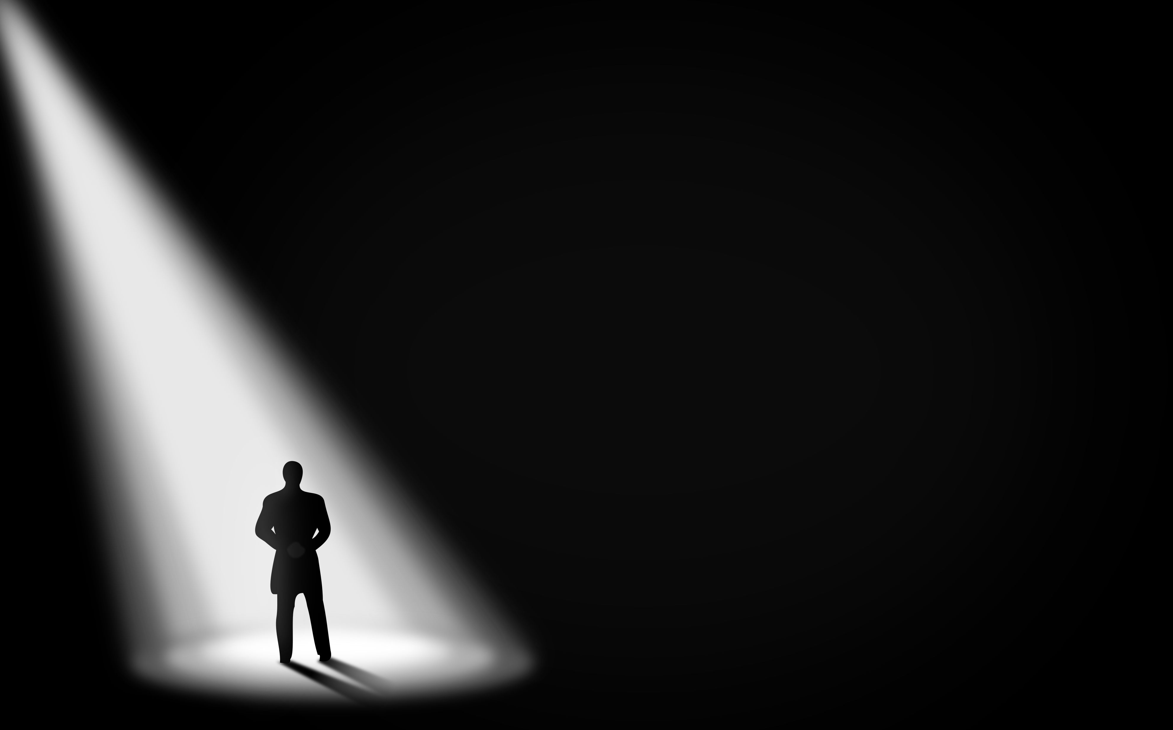 Businessman Alone in the Dark - Under the Spotlight - With Copyspace, Access, Pensive, Passage, Paradise, HQ Photo