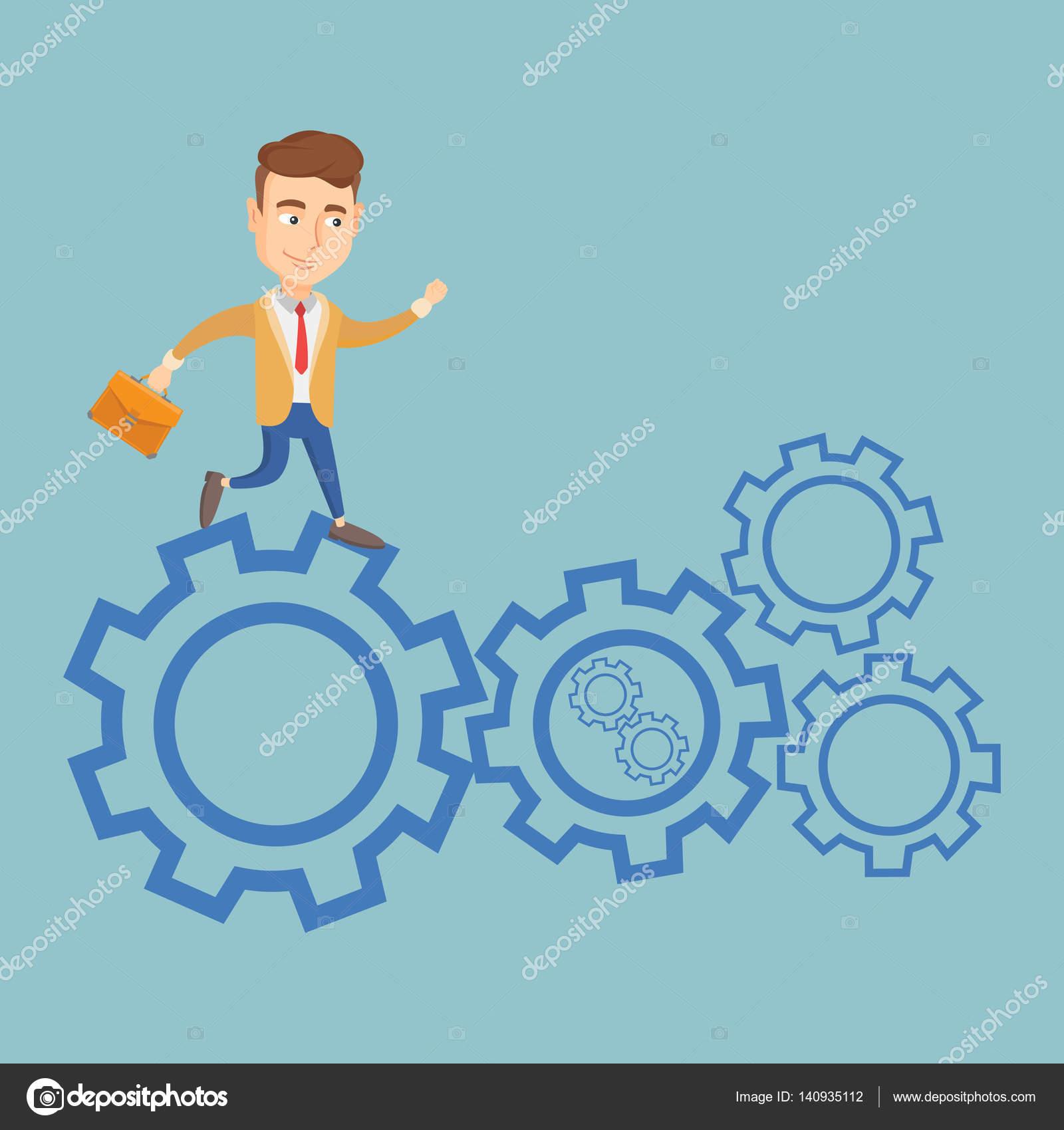 Business man running on cogwheels. — Stock Vector © rastudio #140935112