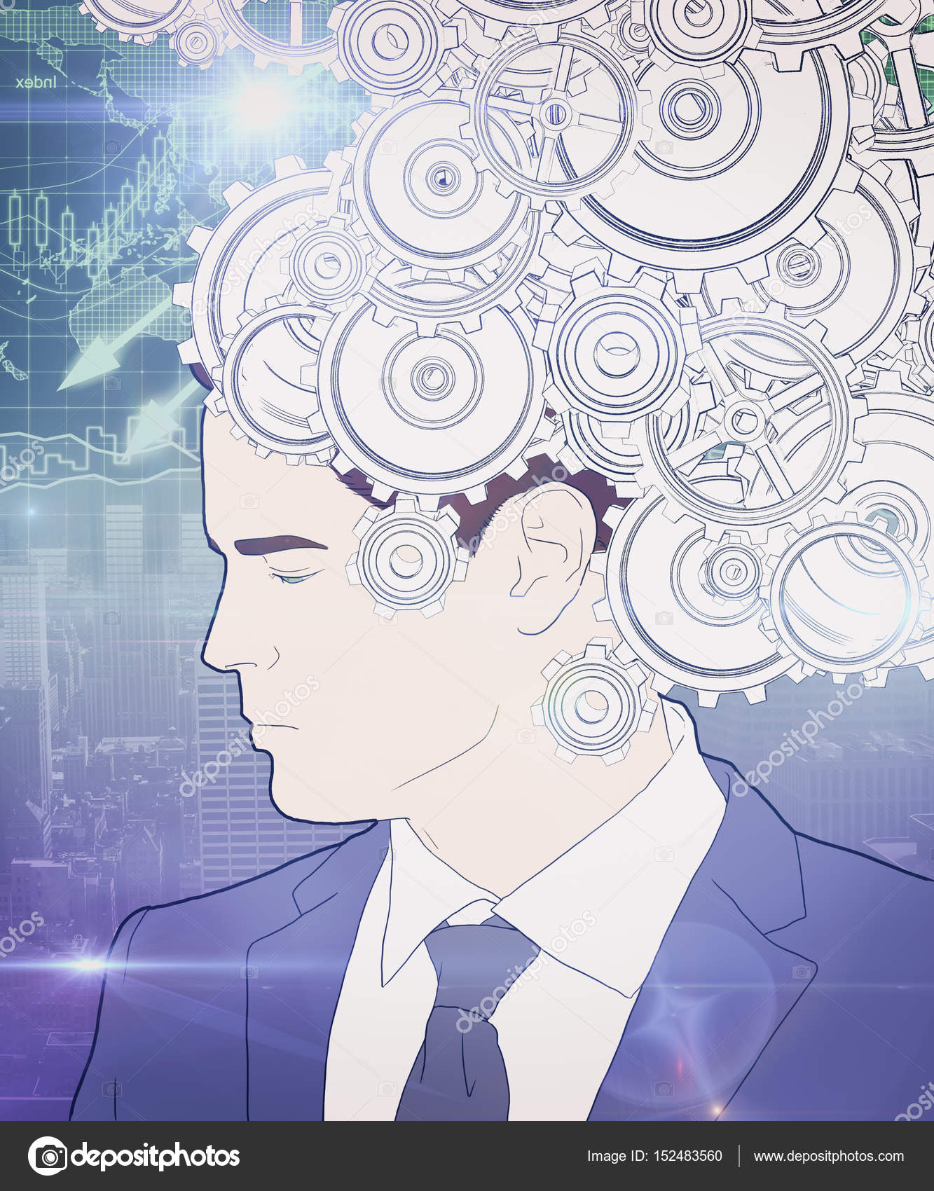 Drawn businessman with cogwheels on city background with forex ...
