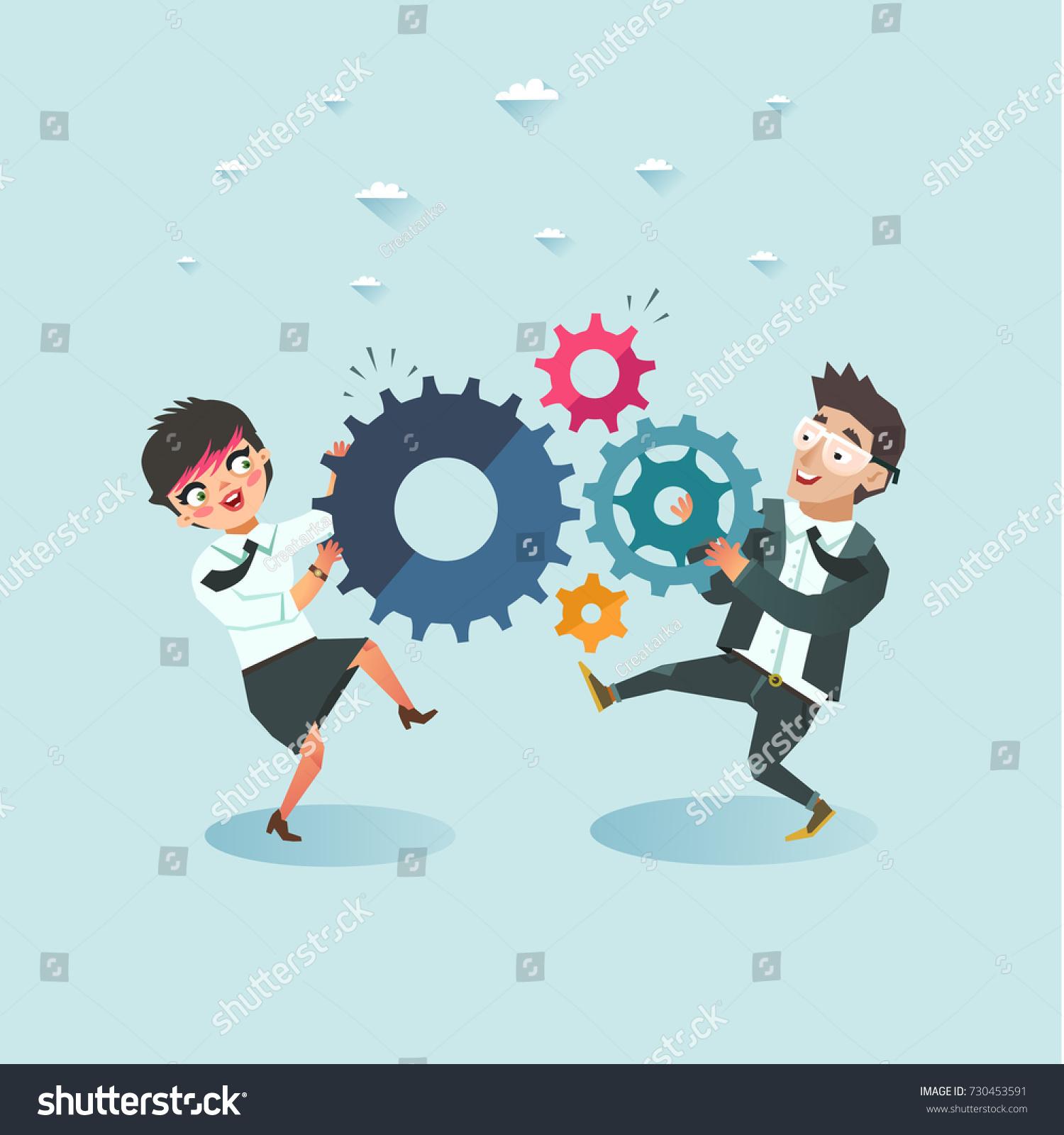 Business Teamwork Concept Businessman Businesswoman Holding Stock ...
