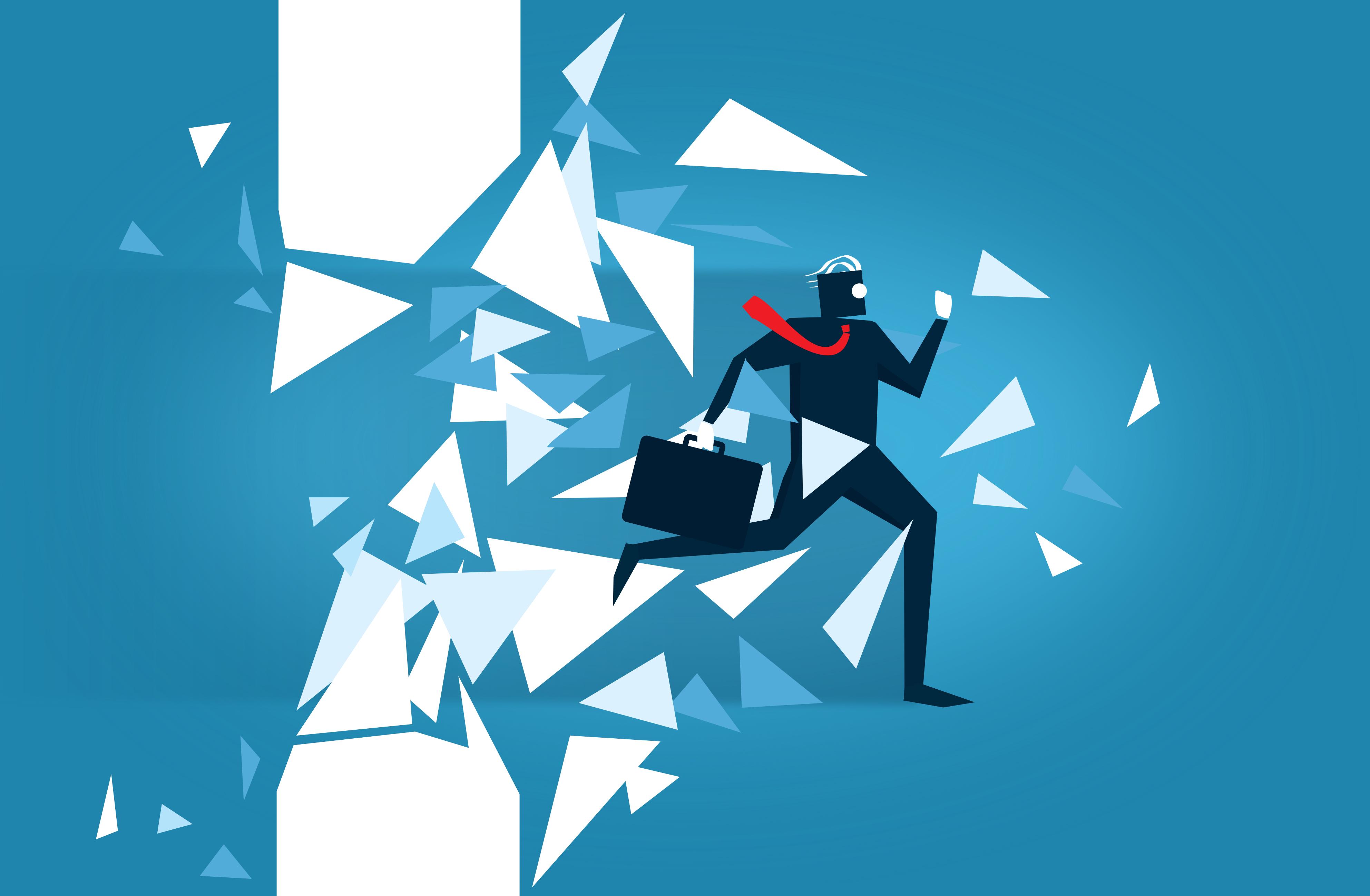 Businessman Blasting Through a Wall - Overcoming Barriers, Achievement, Message, Plan, Performance, HQ Photo