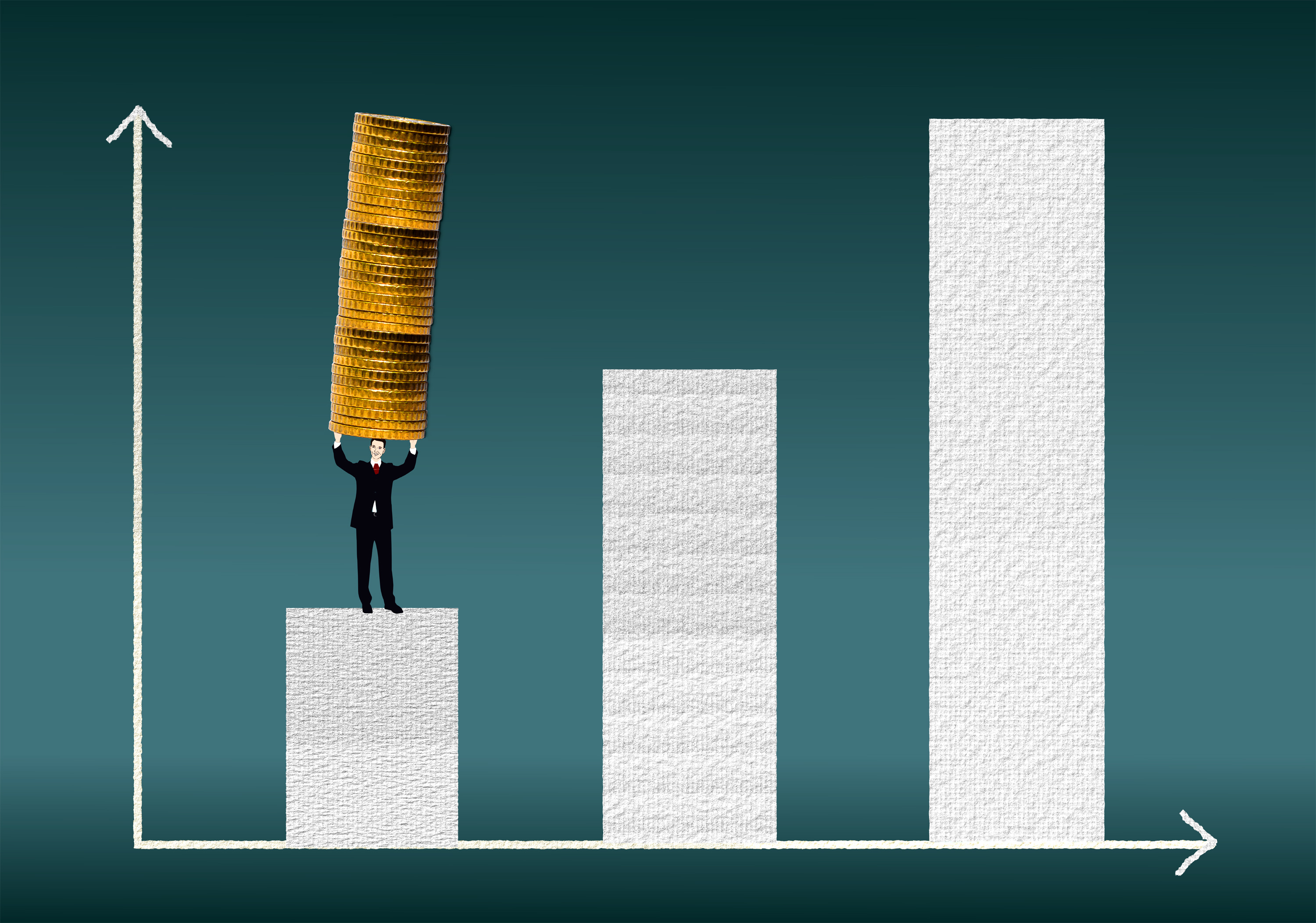 Businessman carrying a coin stack, Achieve, Line, Plan, Pile, HQ Photo