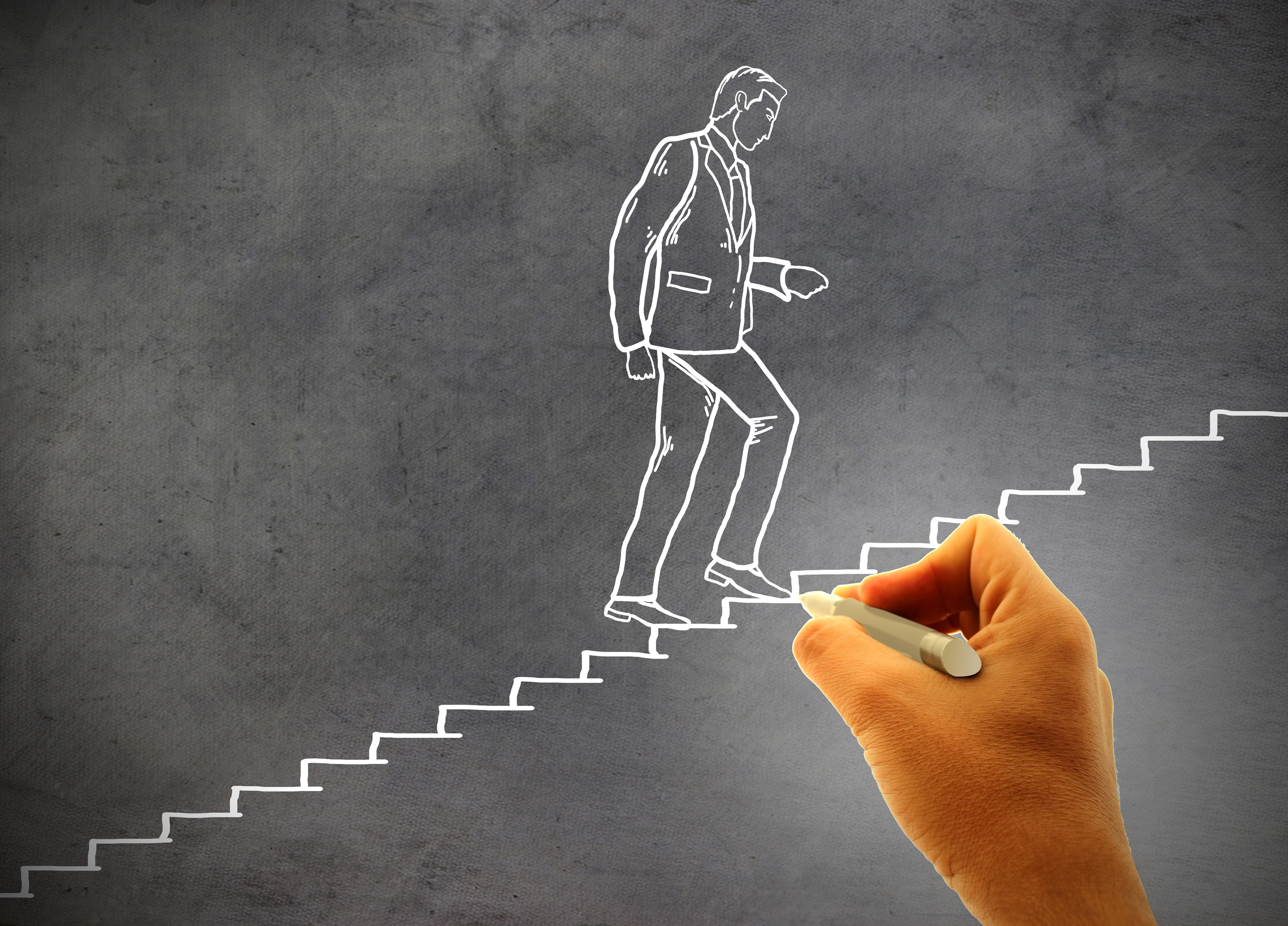 Businessman climbing staircase - Concept of climbing the career ladder, , Partner, Reach, Pull, HQ Photo