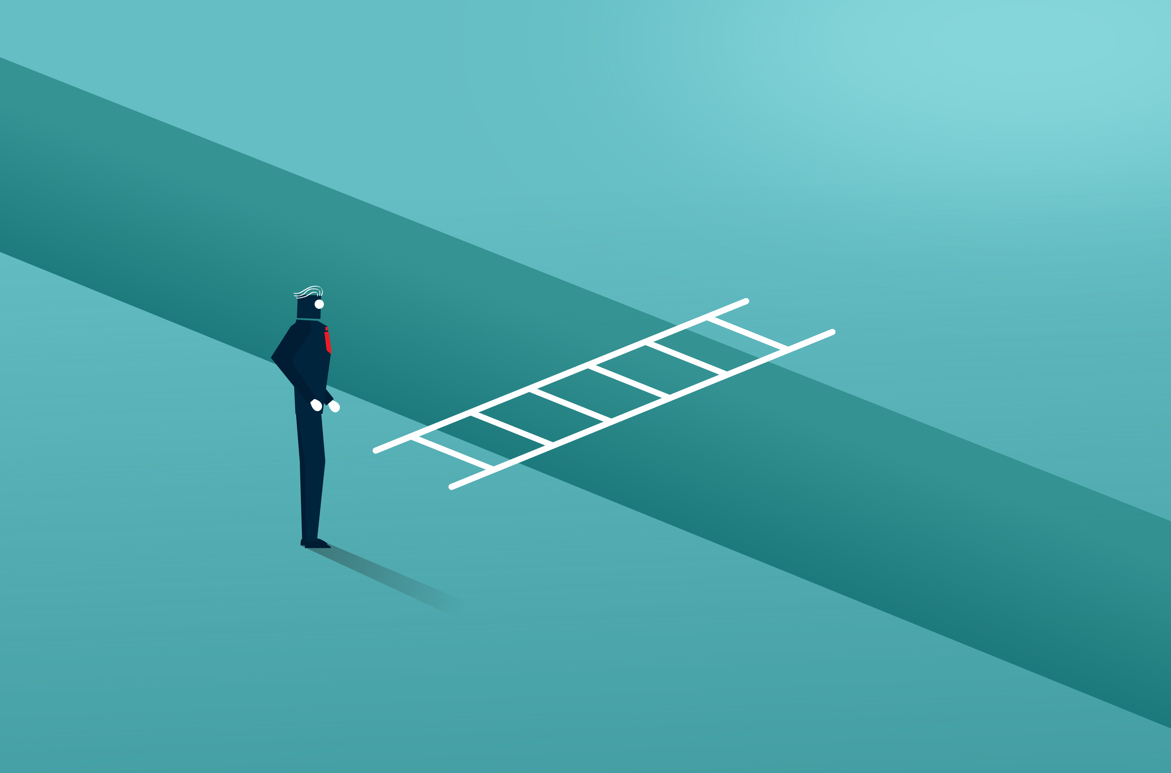 Businessman Facing a Moat With Ladder - Overcoming Barriers, Achievement, Message, Plan, Performance, HQ Photo