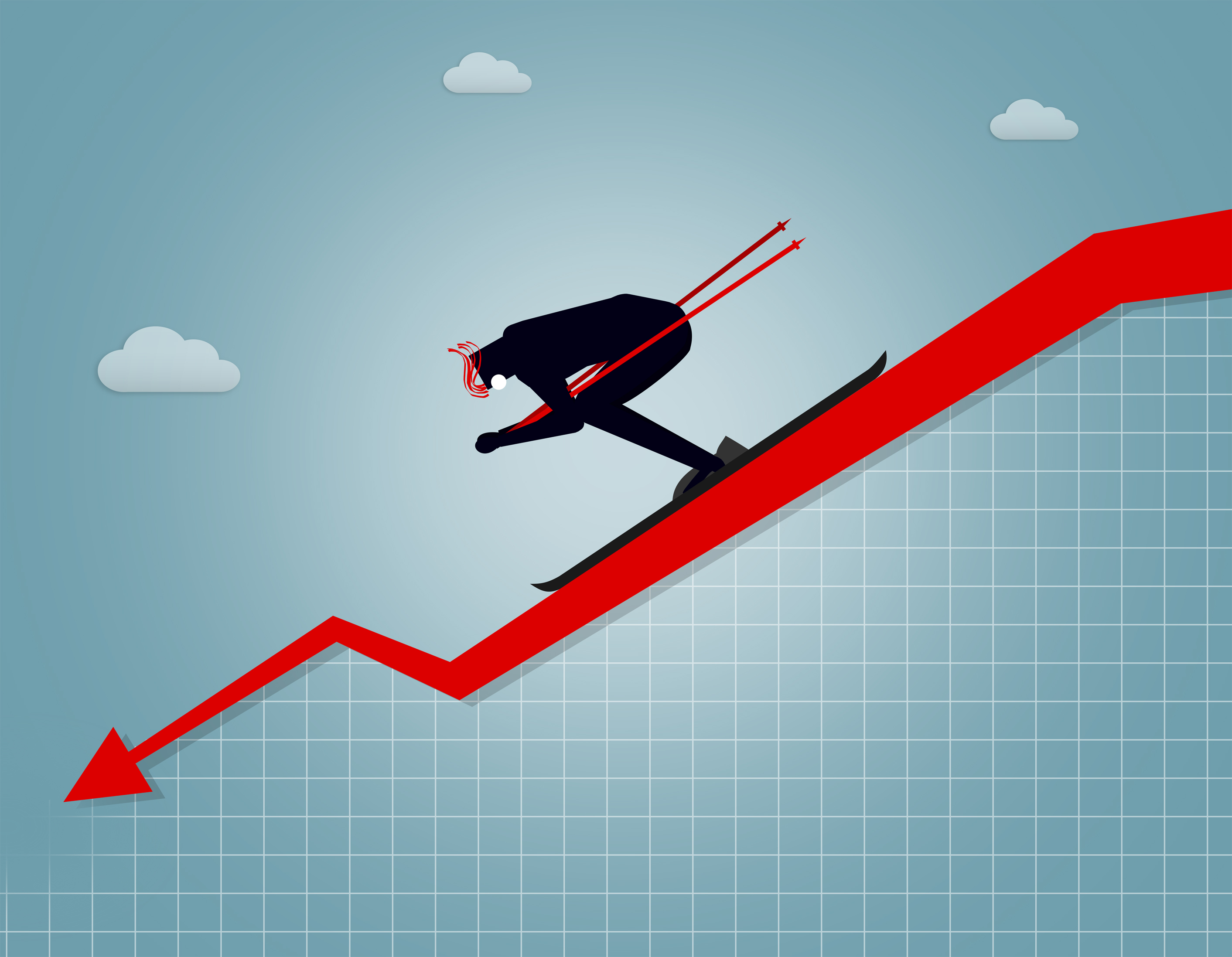 Businessman going downhill - market crash and correction concept photo