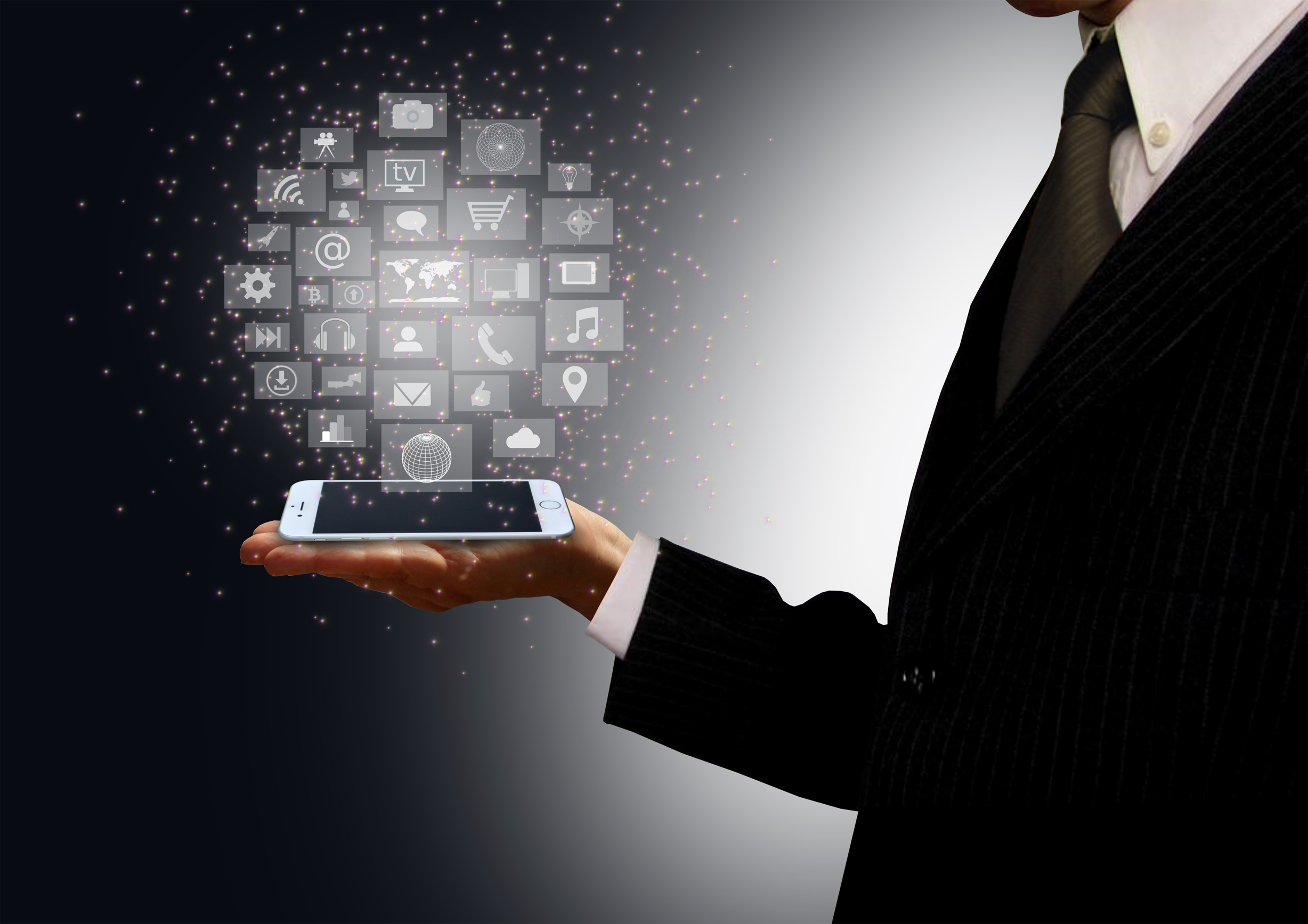 Businessman holding a smartphone with information technology holograph, Adult, Networking, Presenting, Pollution, HQ Photo