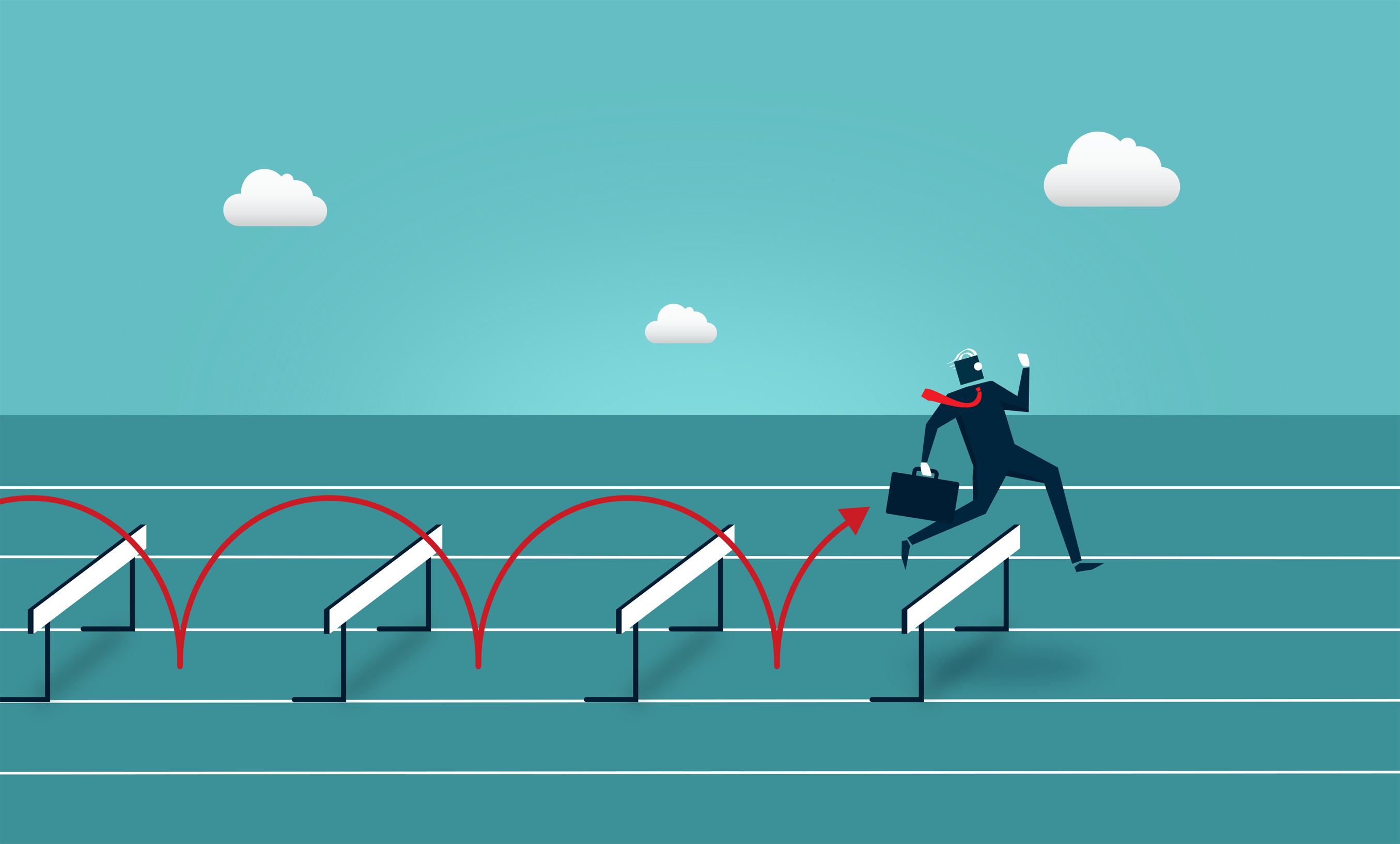 Businessman jumping over hurdles - overcoming barriers photo