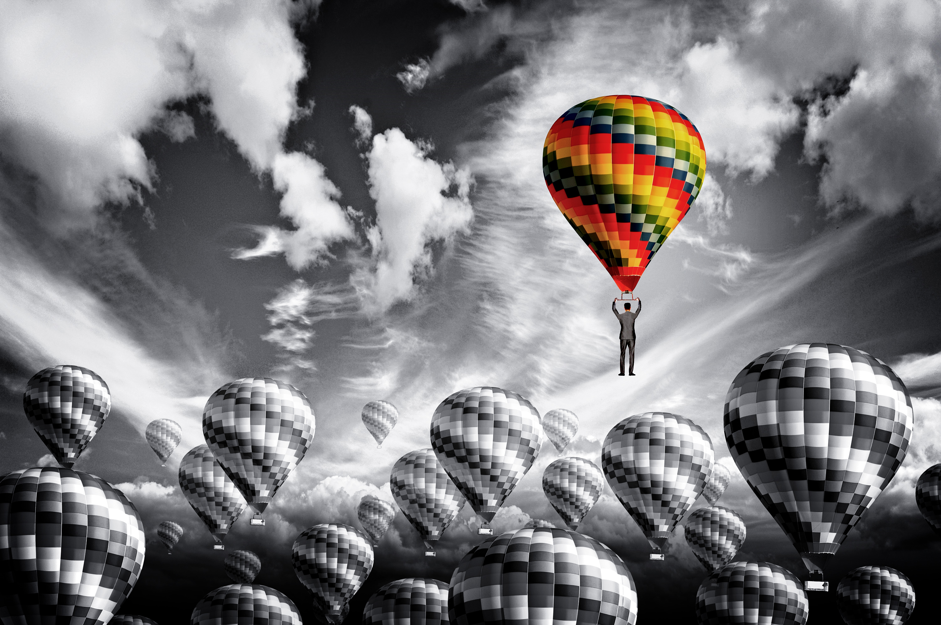 Businessman leader rising in a hot air balloon - Leadership concept, Above, Mountain, Person, People, HQ Photo