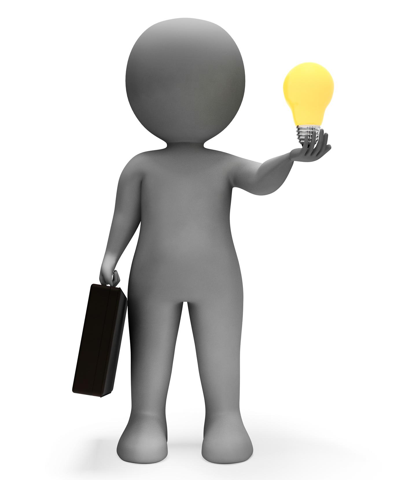 Businessman Lightbulb Shows Power Source And Character 3d Rendering, 3drendering, Power, Lamp, Lightbulb, HQ Photo