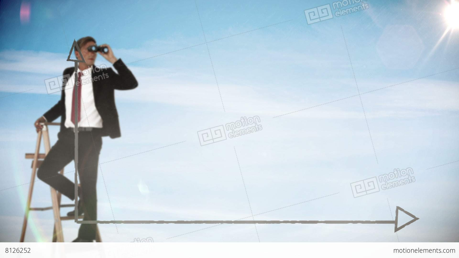 Businessman Looking At Date Graph With Binoculars Stock Animation ...