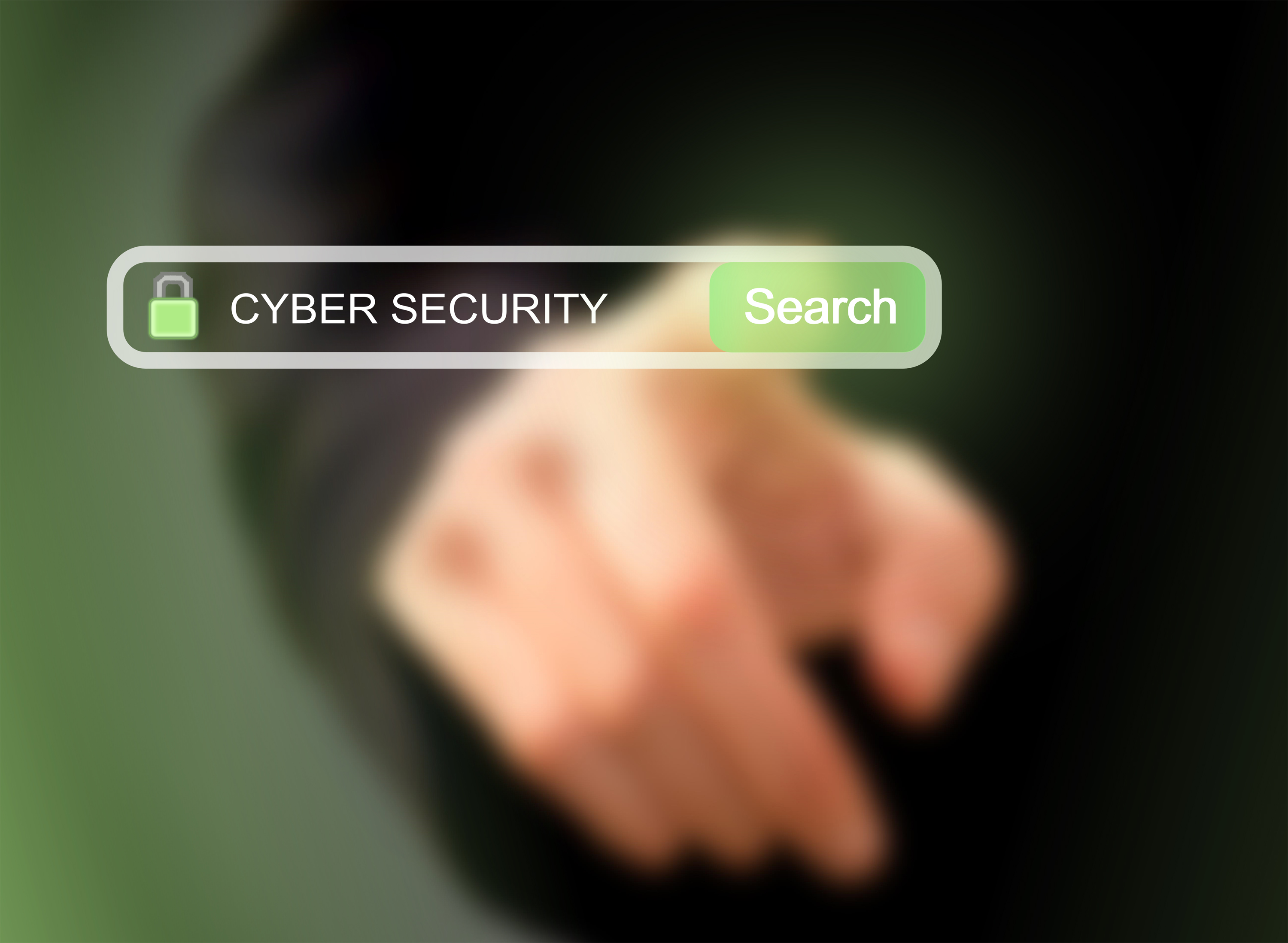 Businessman pressing cybersecurity photo