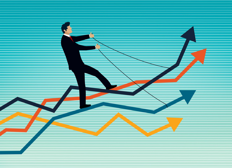 Businessman riding a set of arrows photo