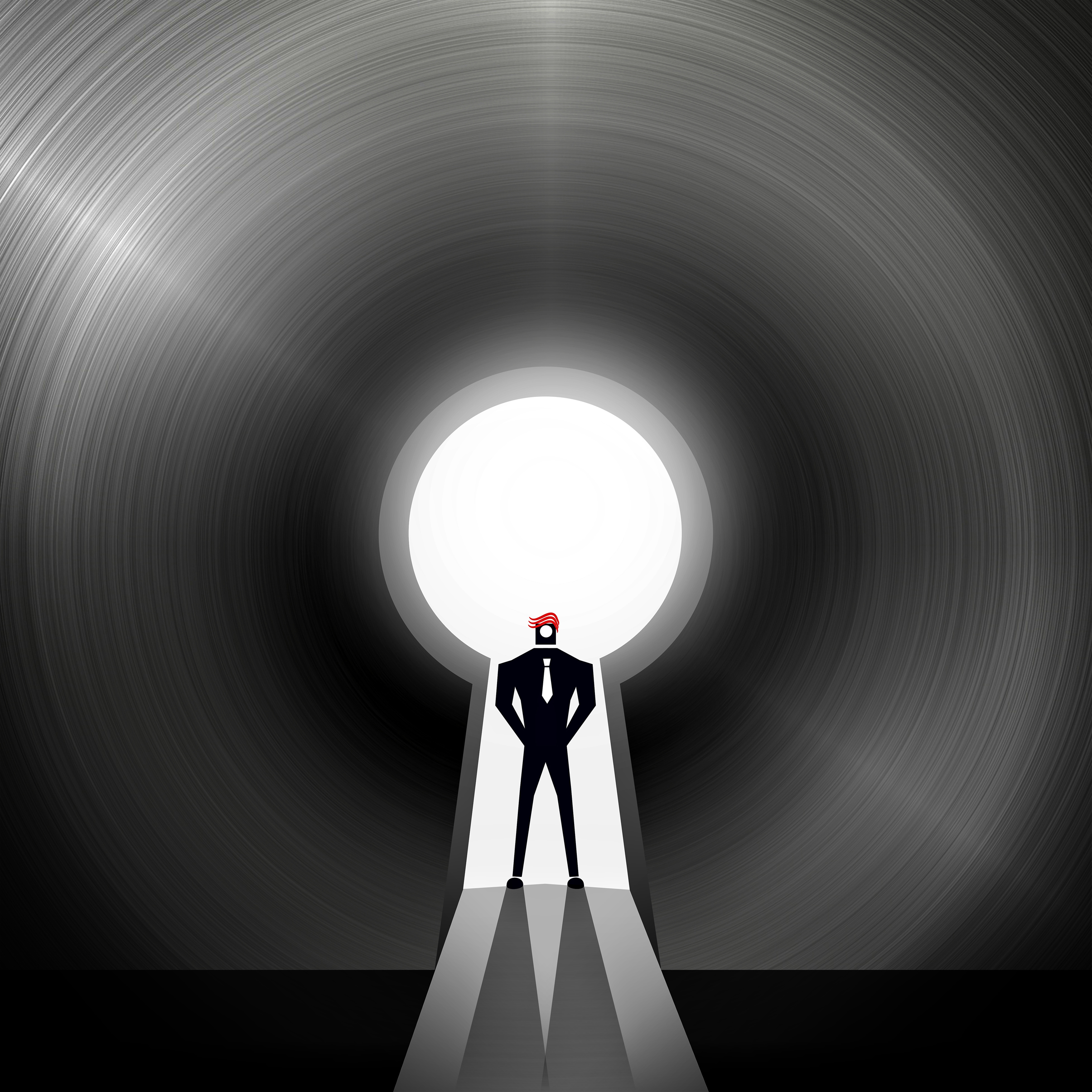 Businessman through the keyhole - creative solutions concept photo