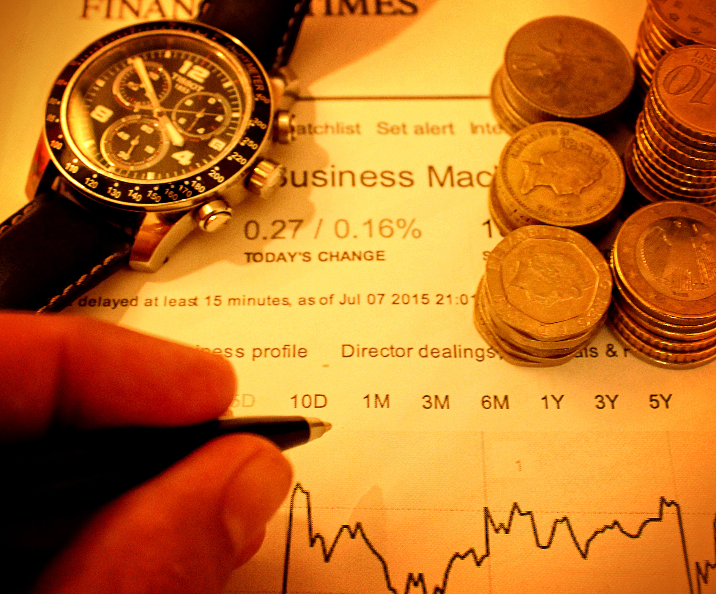 Businessman with pen over financial data photo