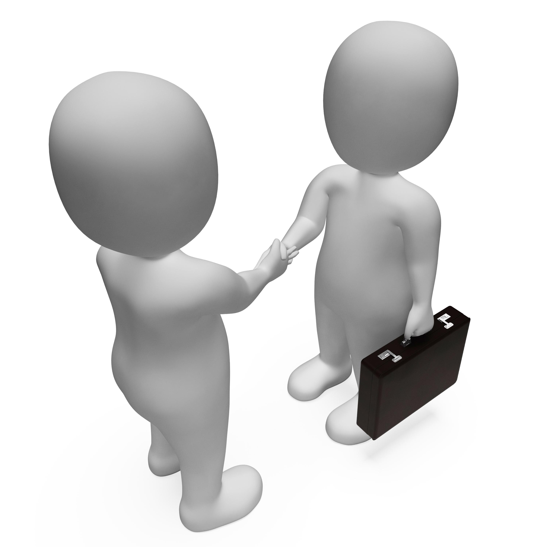 Businessmen shake hands 3d rendering photo