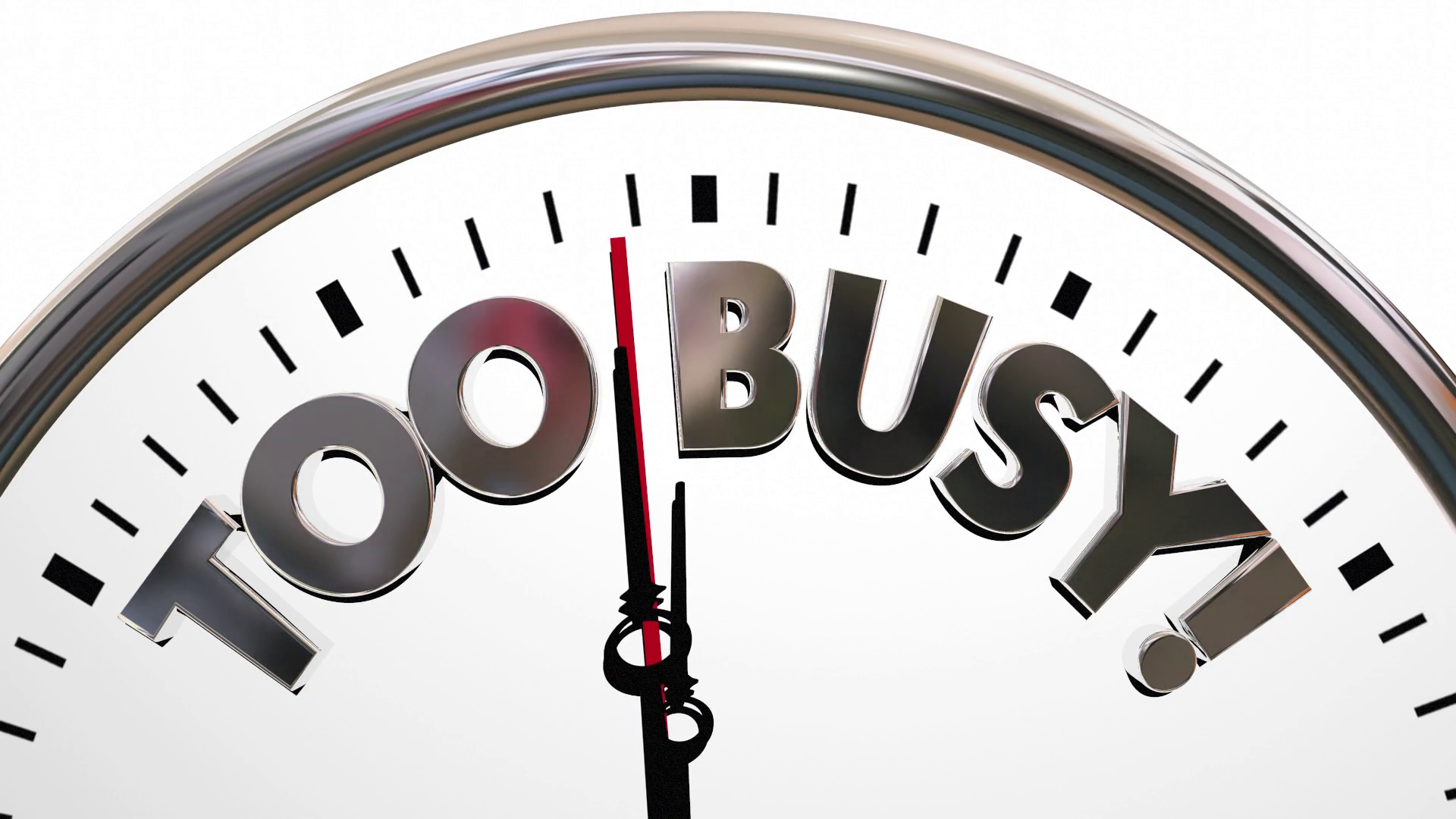 Too Busy Overworked Stress Time Clock Words 3 D Animation Motion ...