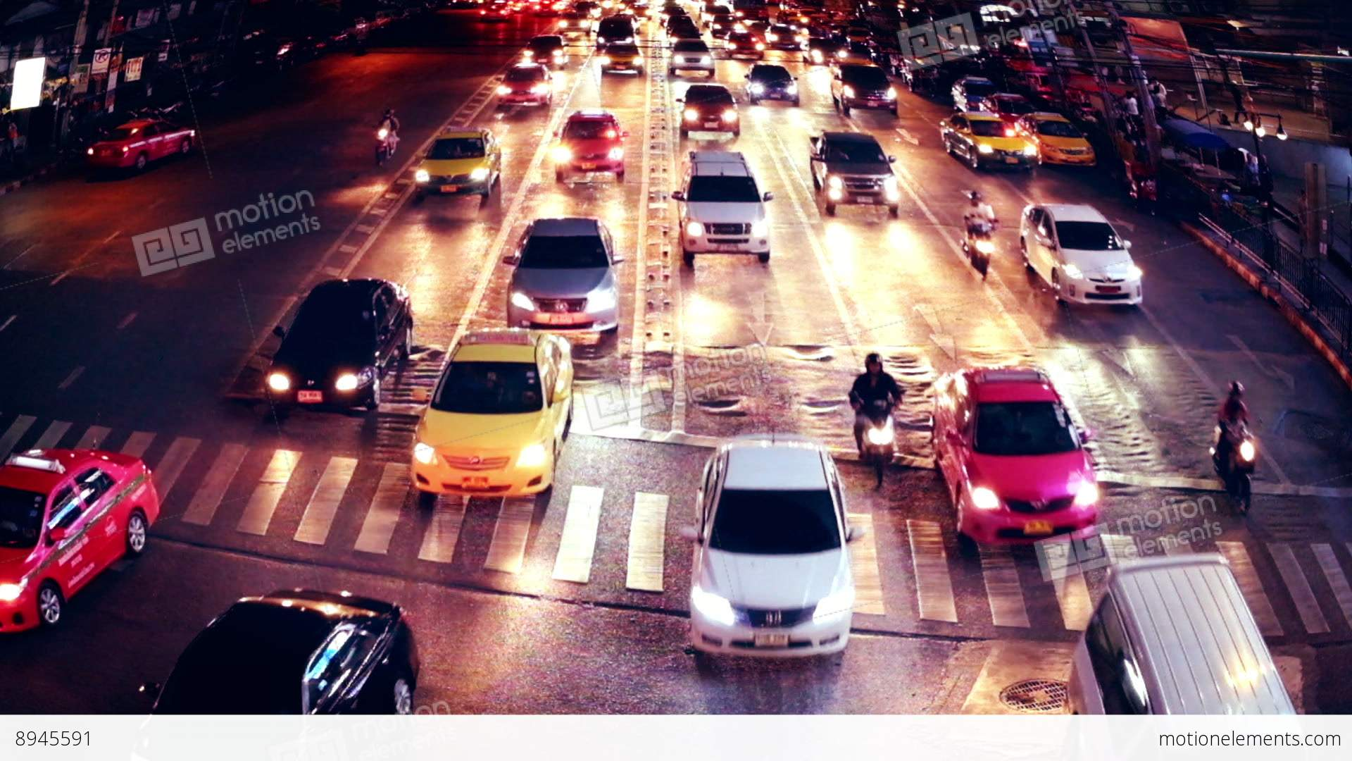 Busy City Street Night View With Moving Cars. Bangkok, Thailand ...