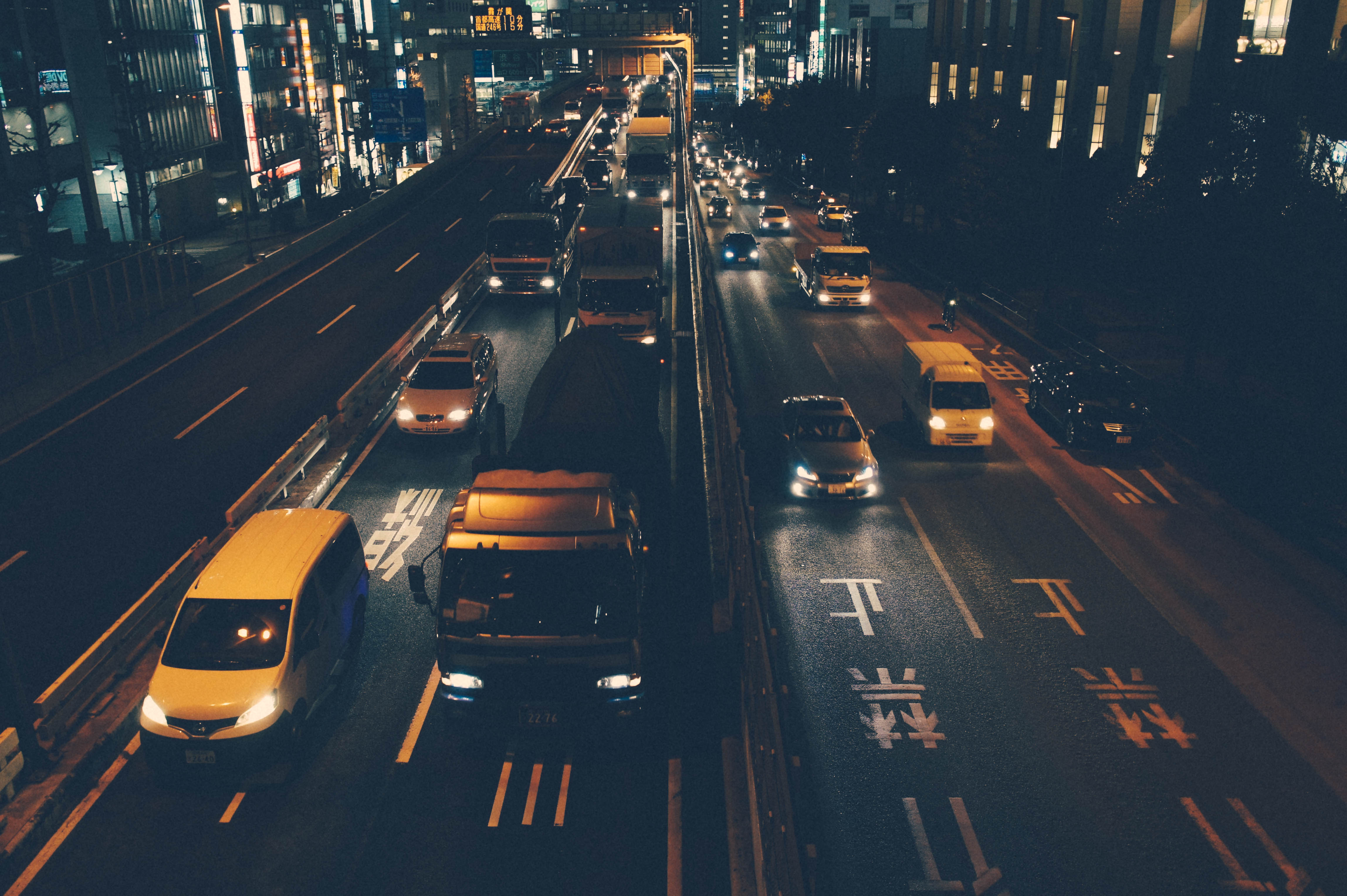 Busy Freeway at Night, Automobiles, Freeway, Headlights, Highway, HQ Photo
