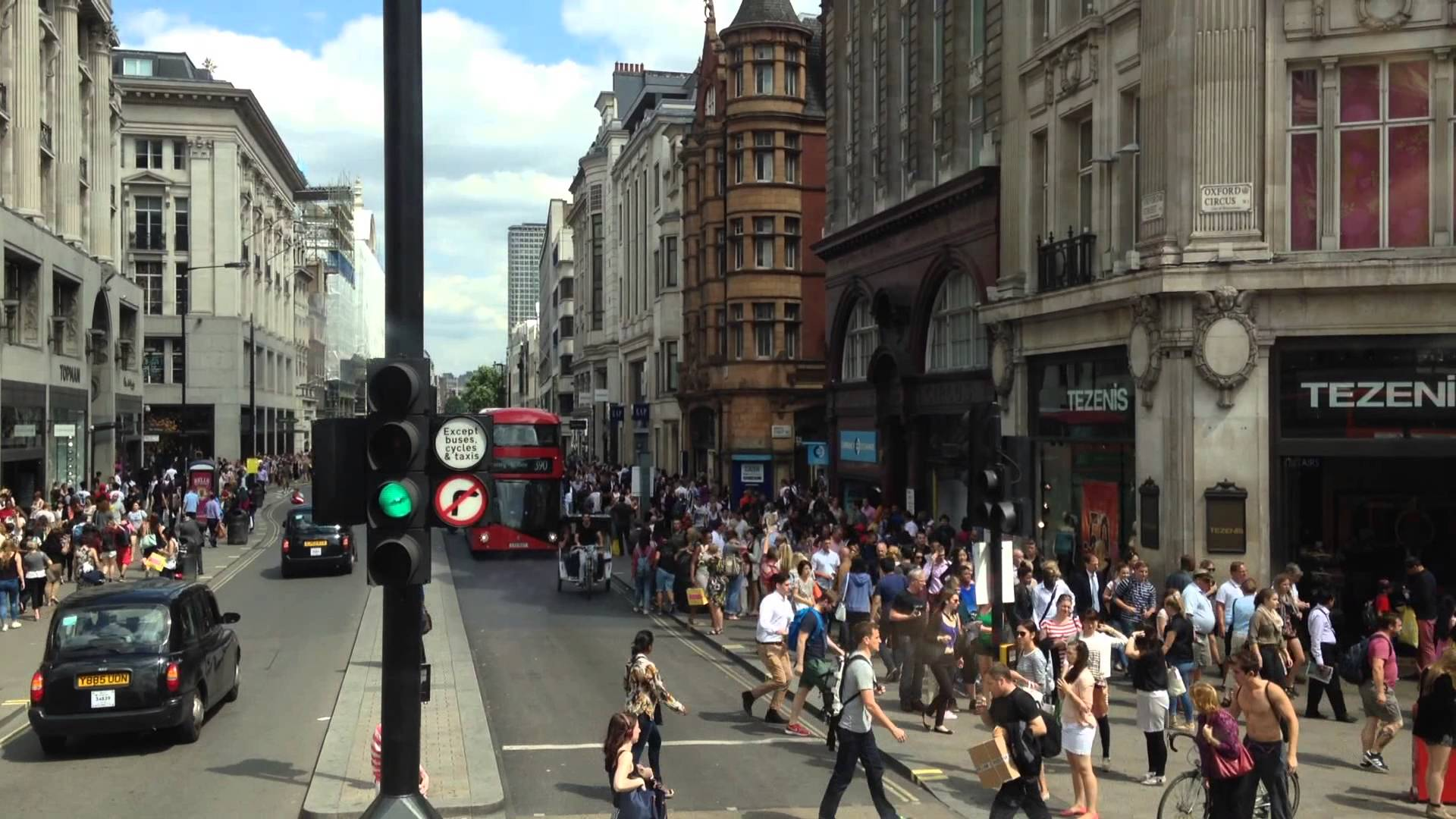 London Oxford street — a busy crossroad, view from the bus - YouTube