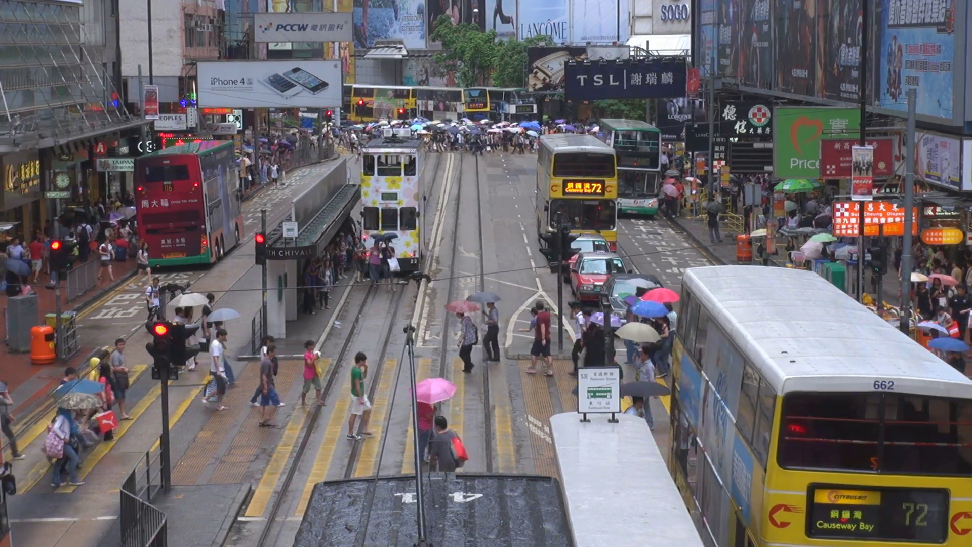 Aerial view people umbrella cross busy road commercial district Hong ...
