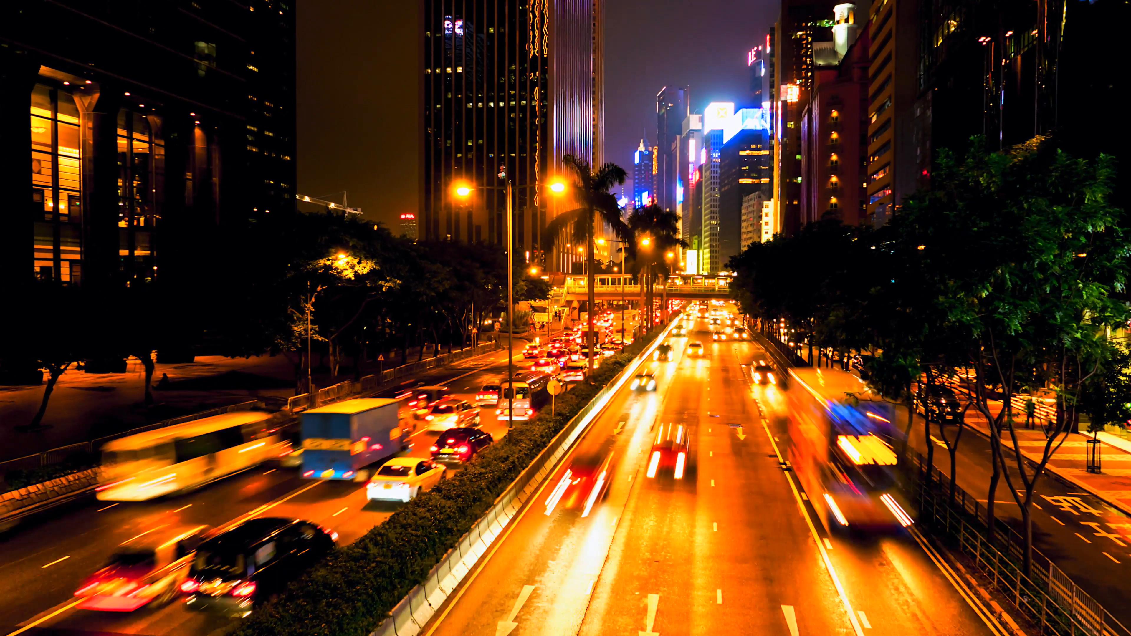HONG KONG - October 2015: Night traffic on busy road. 4K resolution ...