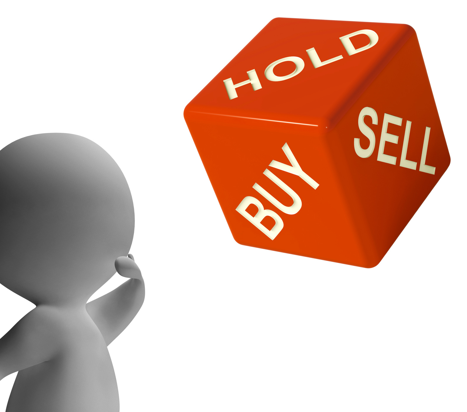 Buy hold and sell dice represents stocks strategy photo