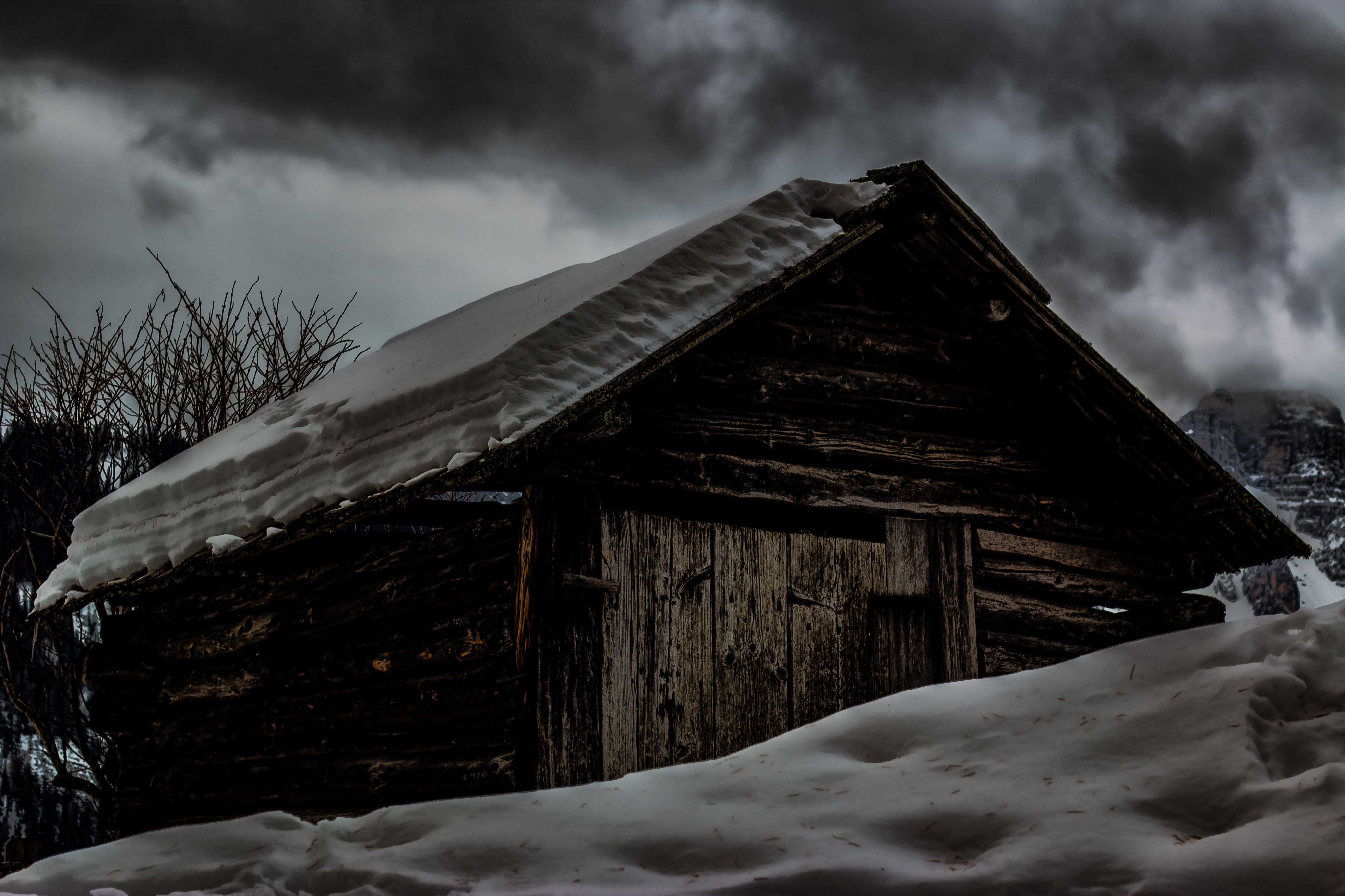 Cabin Covered by Snow, Cabin, Outdoors, Winter, Weather, HQ Photo