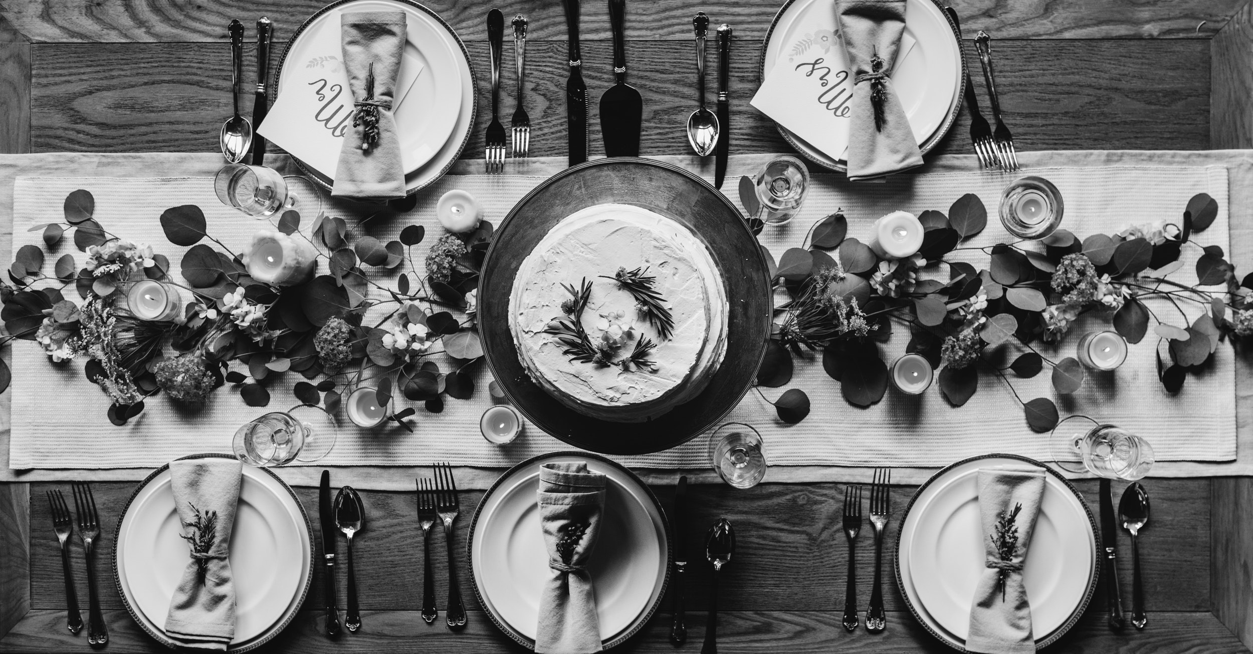 Cake With Five Plates Grayscale Photo, Black and white, Top view, Tableware, Tablecloth, HQ Photo
