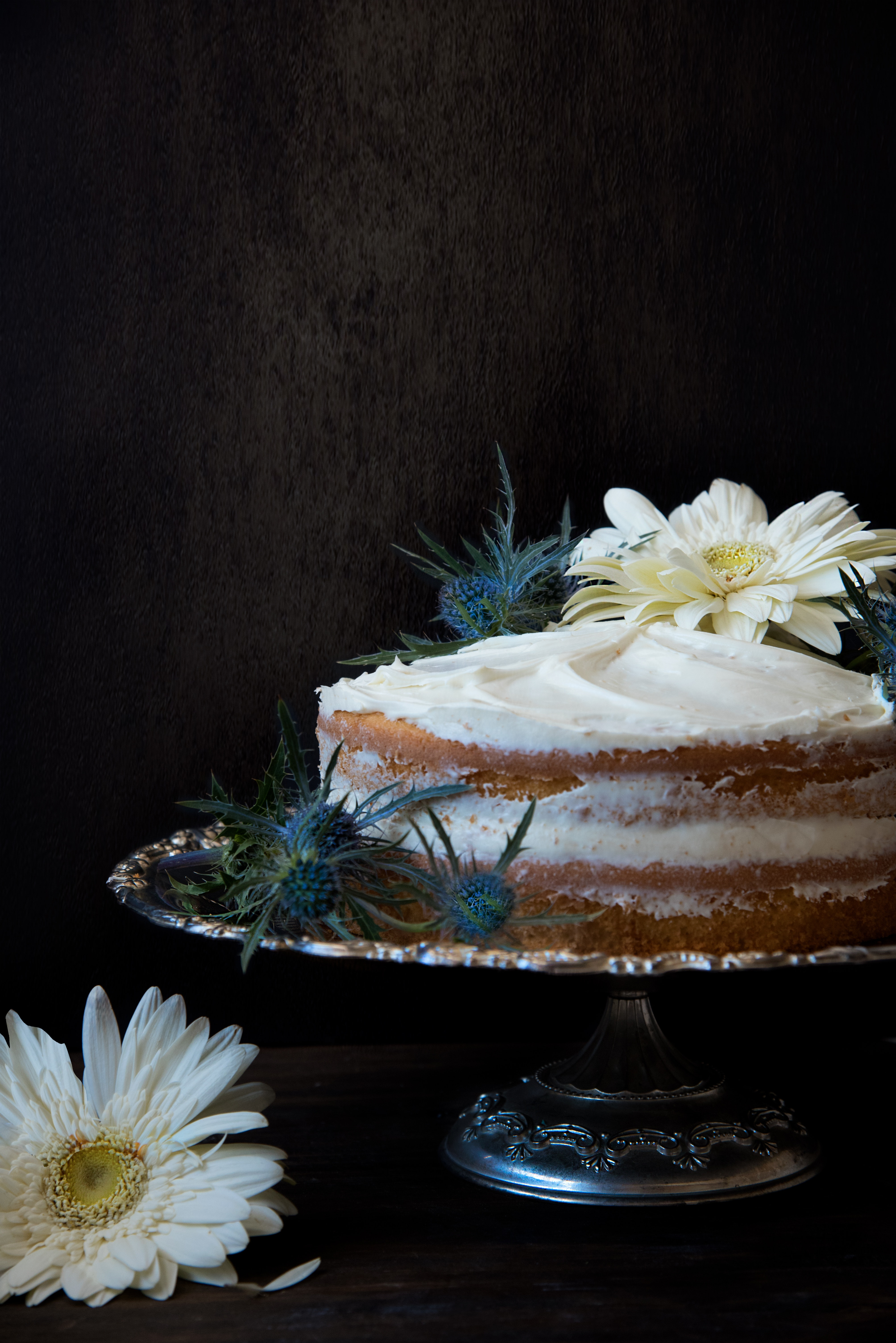 Cake With Icing on Top Silver Cake Stand, Plate, Silver plate, Still life, Pastry, HQ Photo