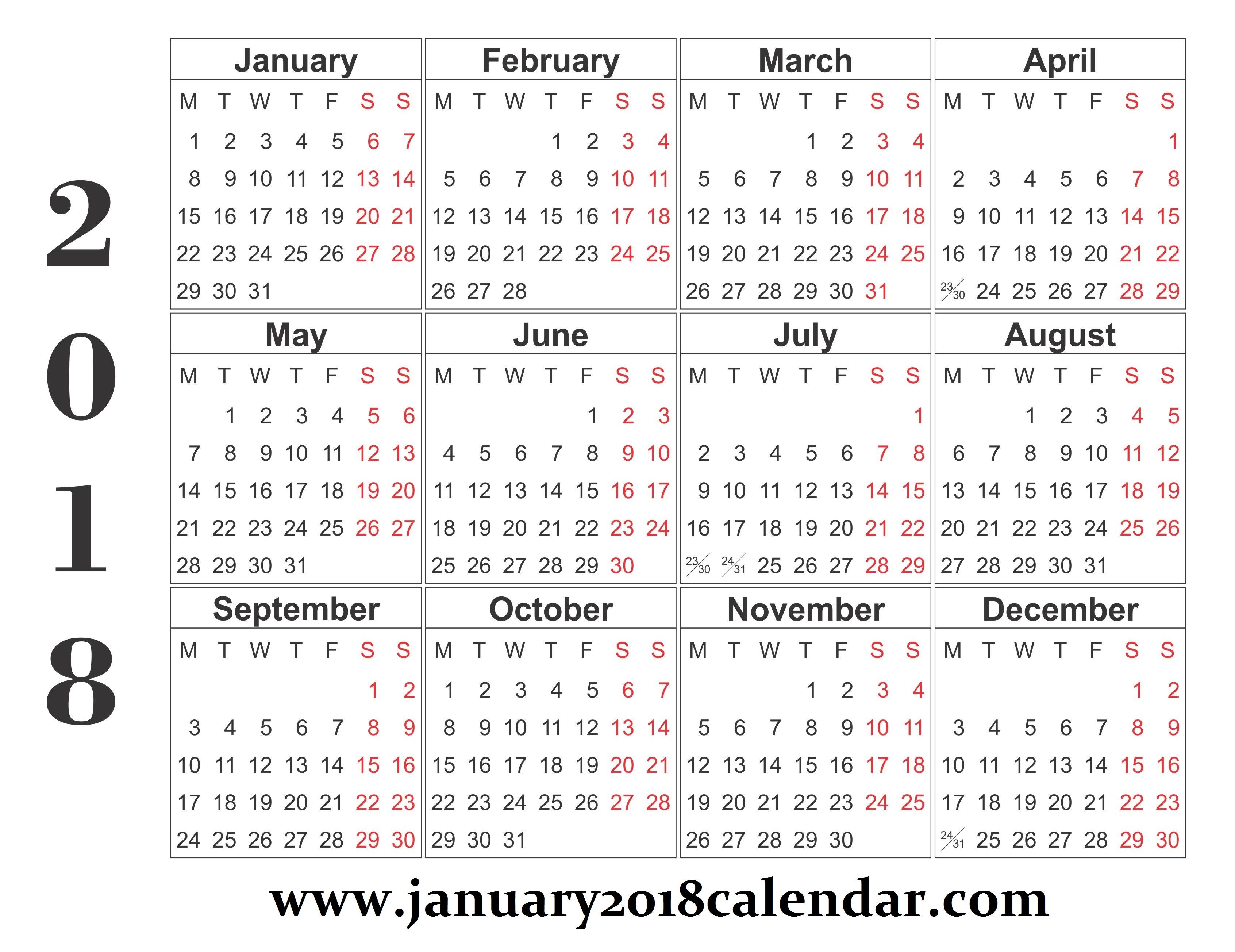 Free Blank Printable Calendar 2018 | January 2018 Calendar