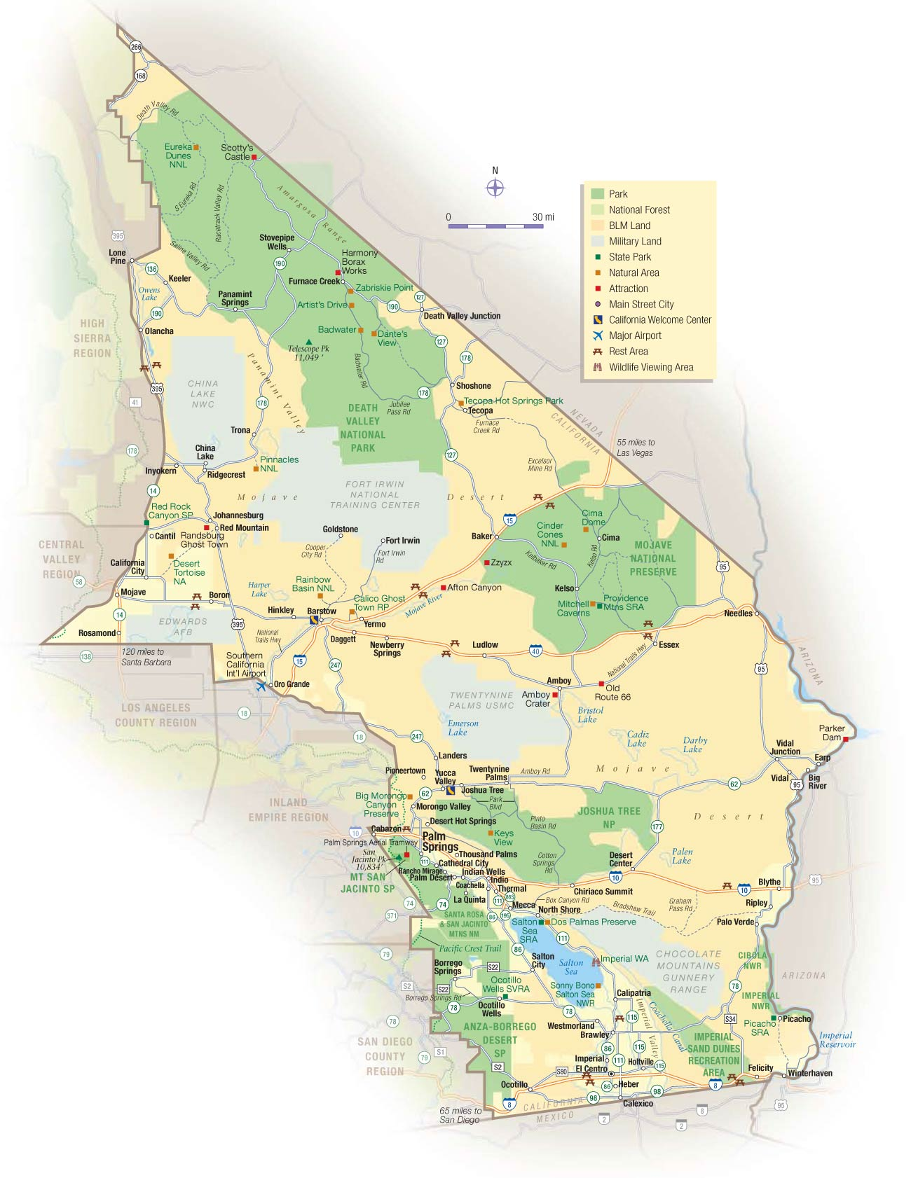 California Desert Map • Mapsof.net