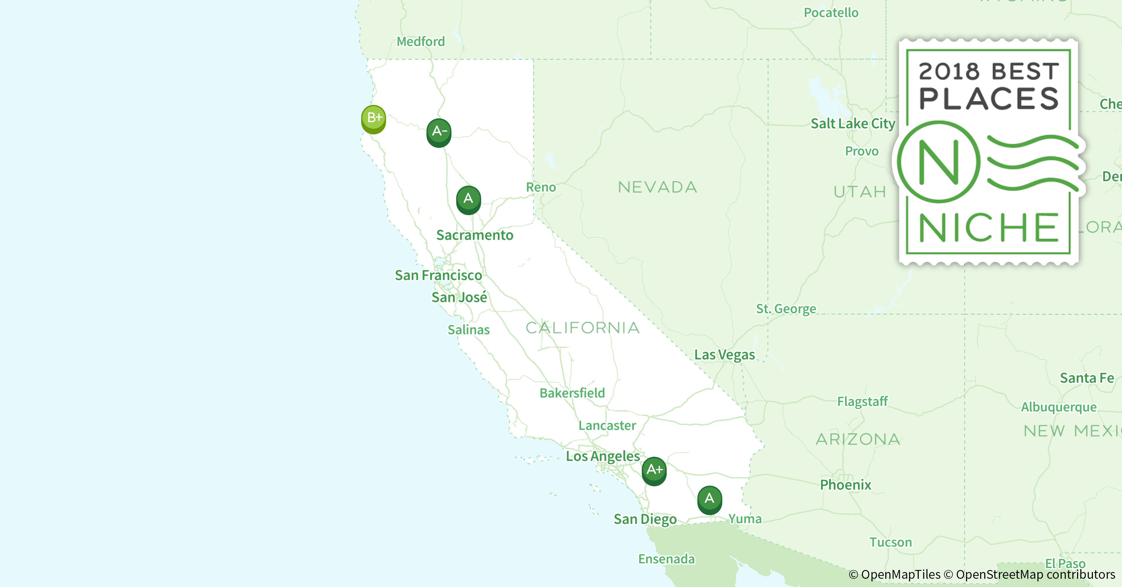 2018 Best Places to Live in California - Niche