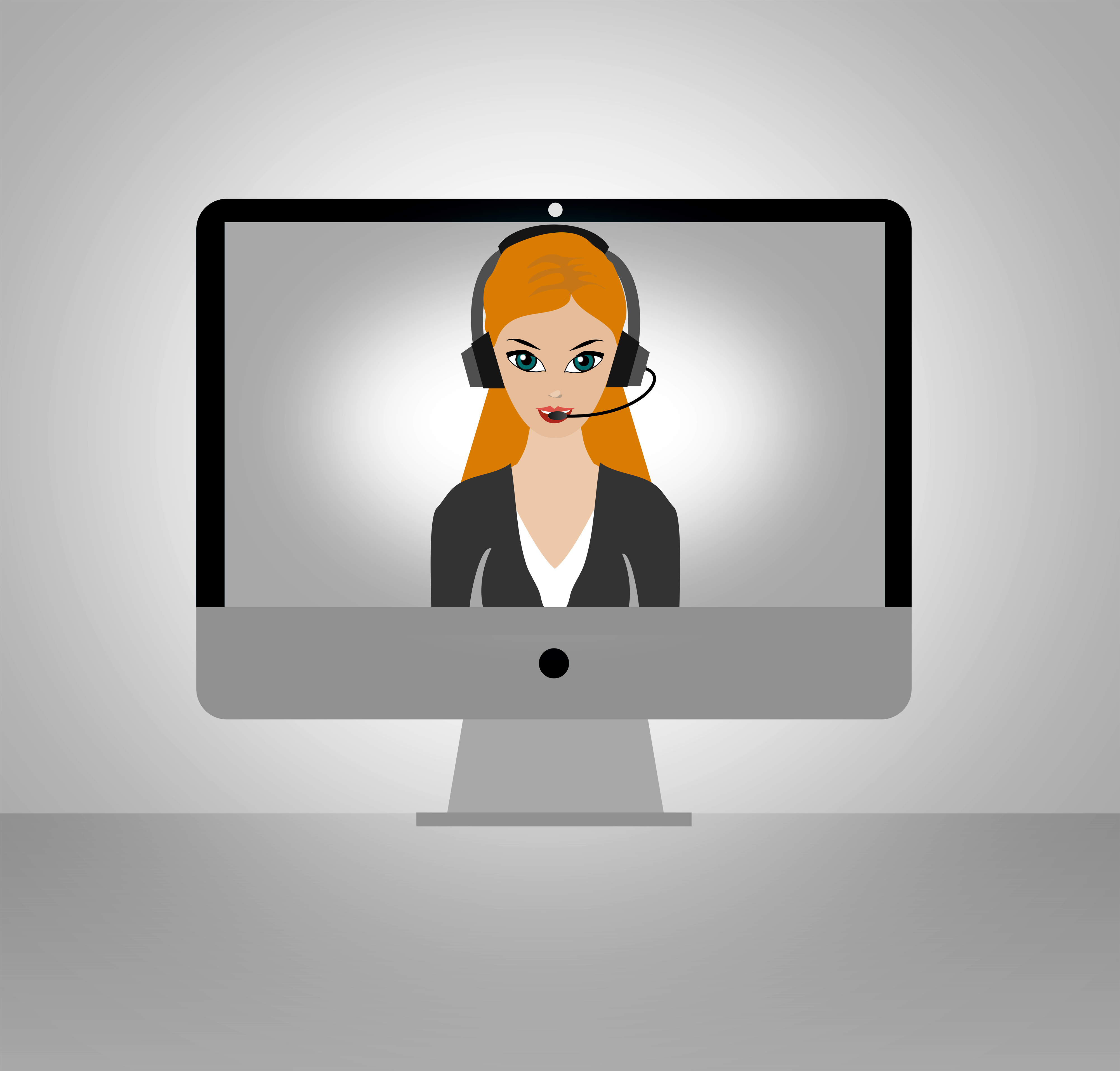 Call center girl - remote assistance concept photo