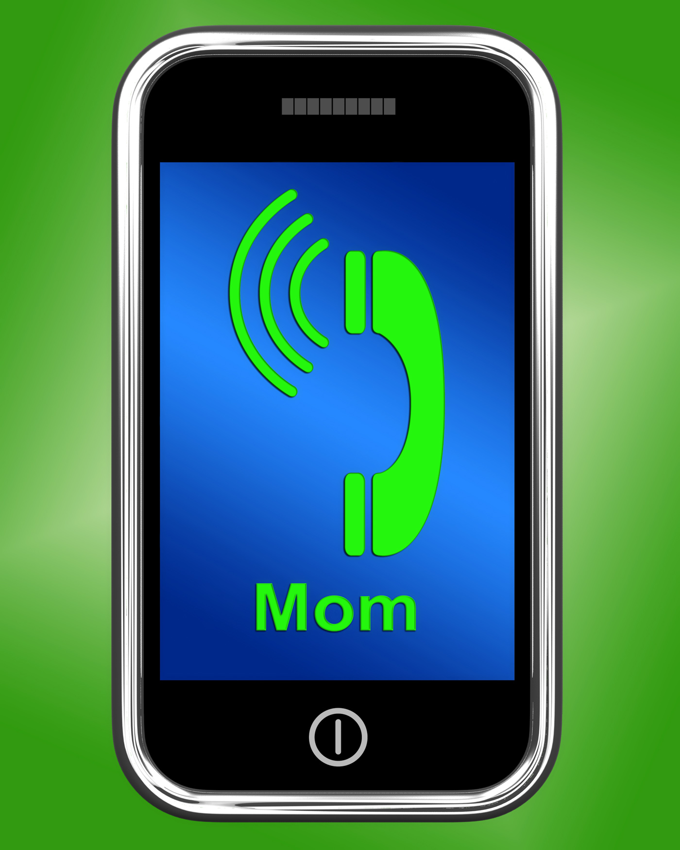 Call mom on phone means talk to mother photo