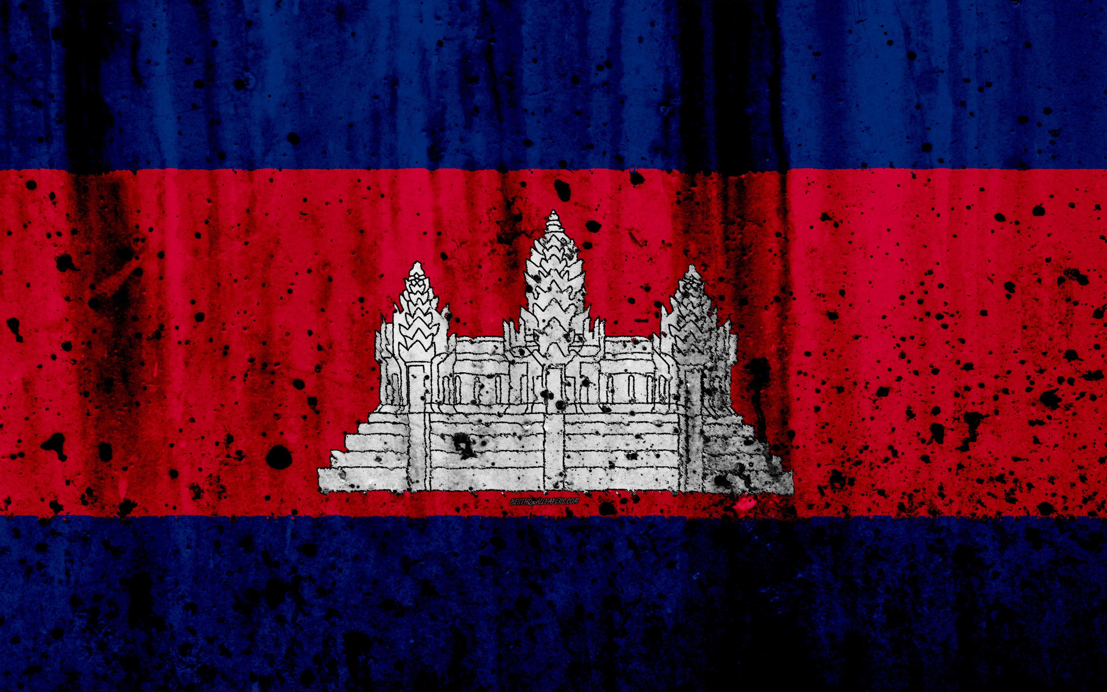 Download wallpapers Cambodian flag, 4k, grunge, flag of Cambodia ...