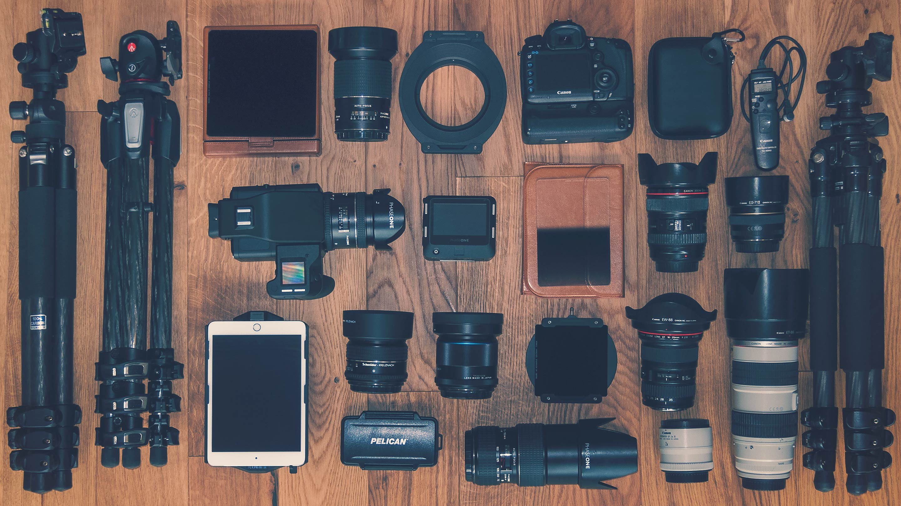 equipment list - camera kit, lenses and gear bag