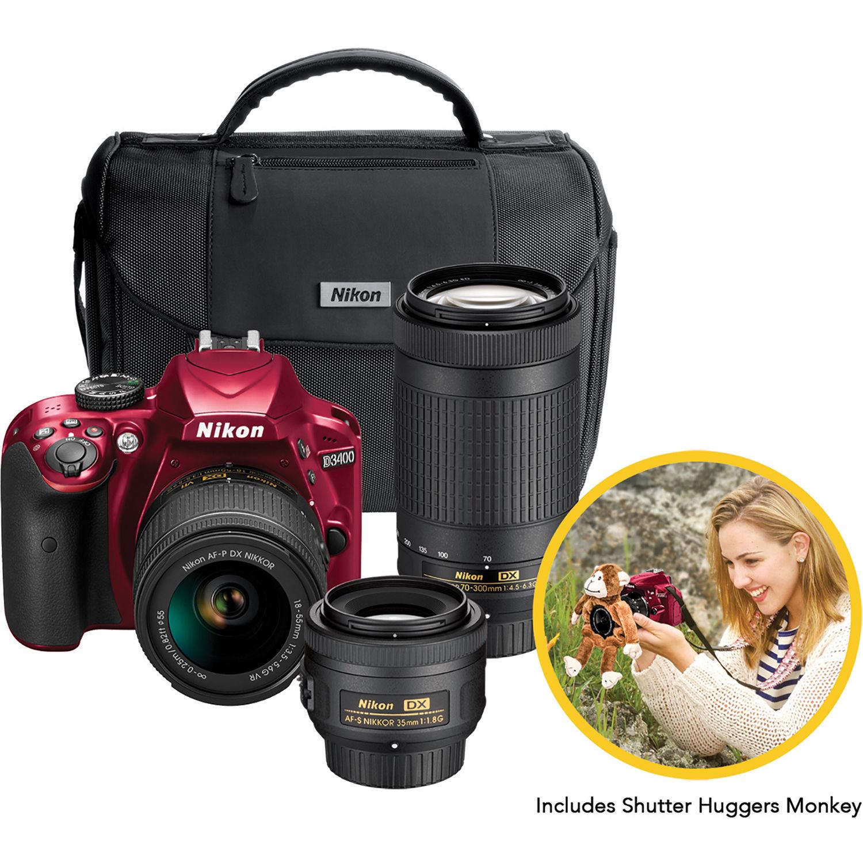 Nikon D3400 DSLR Triple Lens Parent's Camera Kit (Red) 13525 B&H
