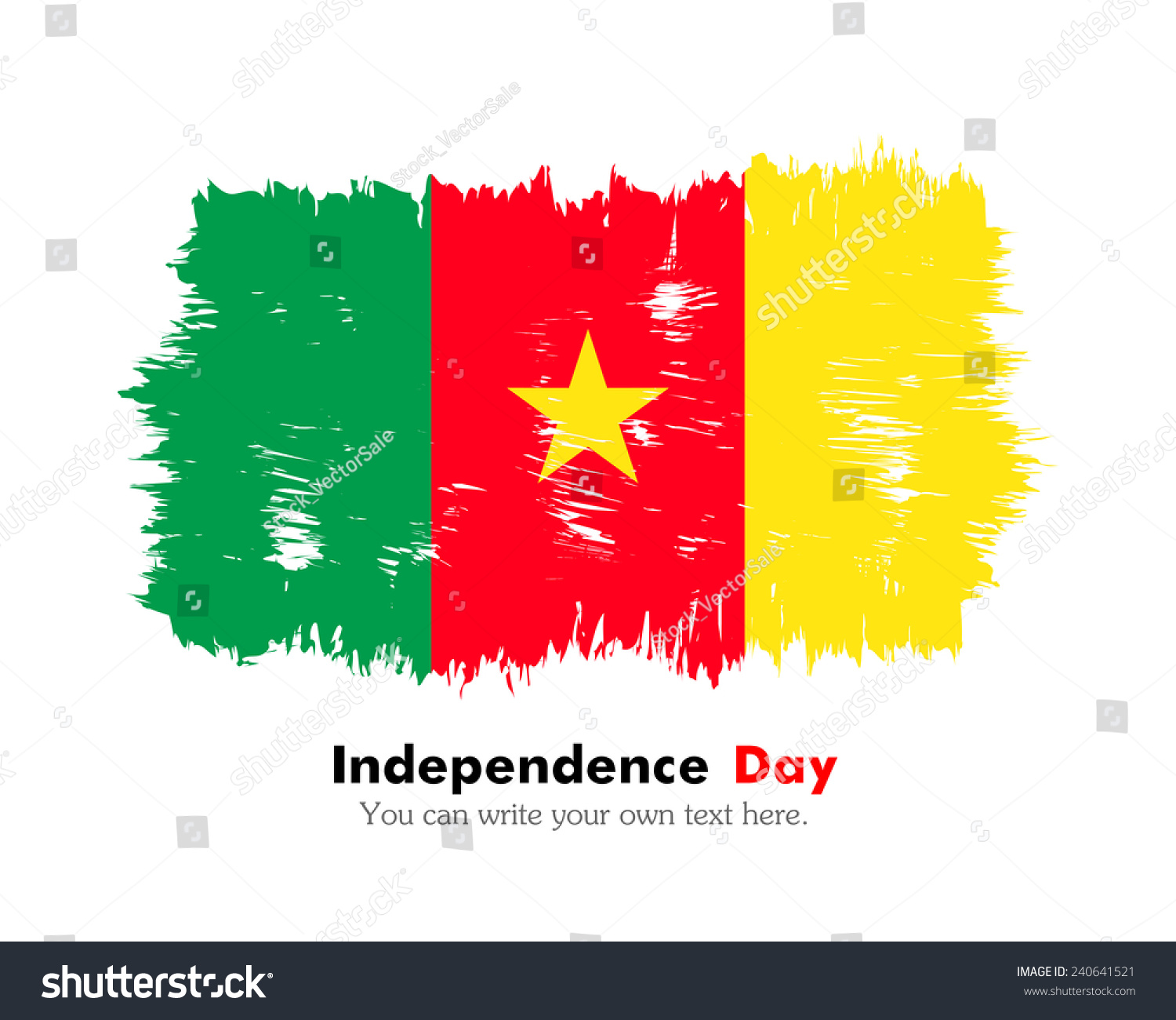 Flag Cameroon Painted Brush Colored Inks Stock Vector 240641521 ...