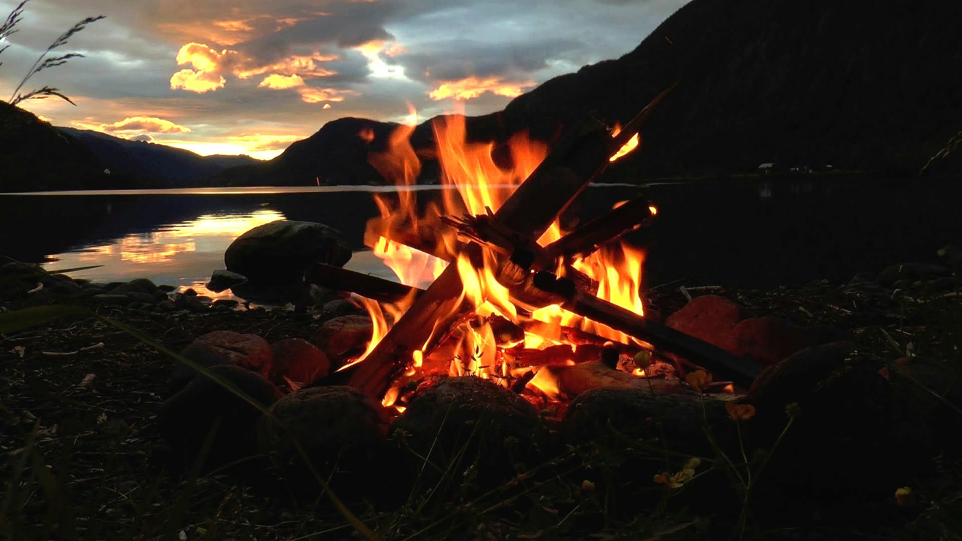 Lakeside Campfire with Relaxing Nature Night Sounds (HD) - YouTube