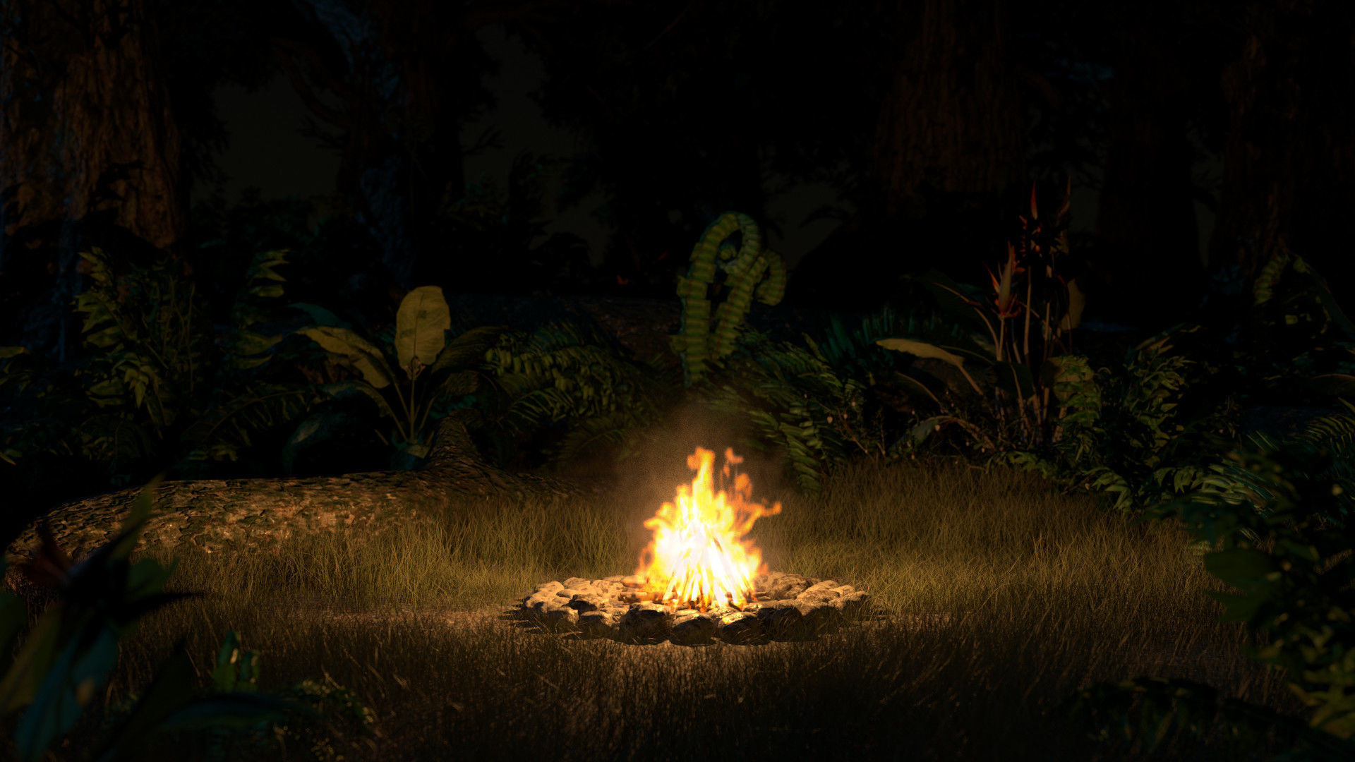 Campfire Volumetric Loop and 3D Model animated game-ready