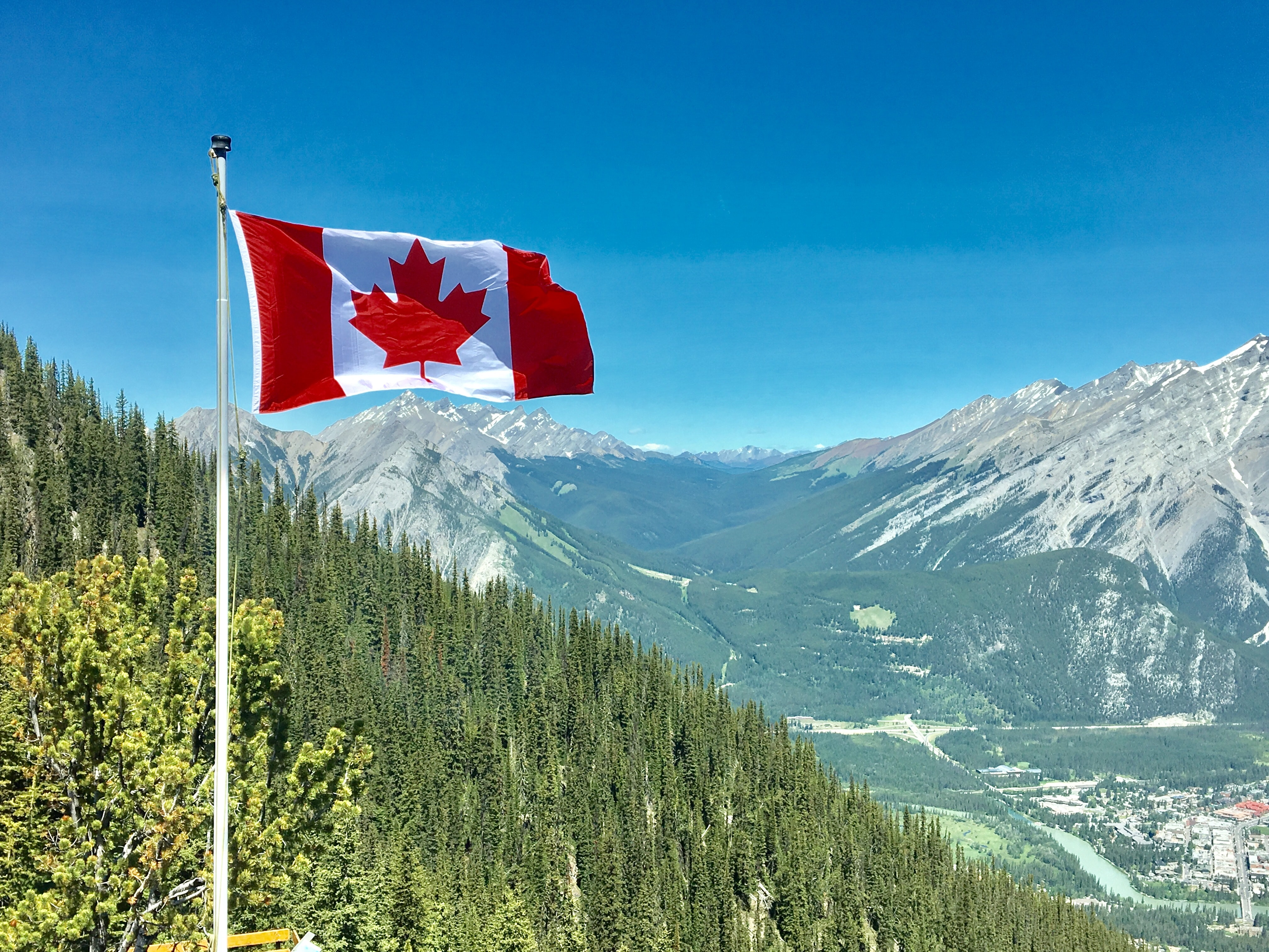 Canada Flag With Mountain Range View, Adventure, Outdoors, Valley, Trees, HQ Photo